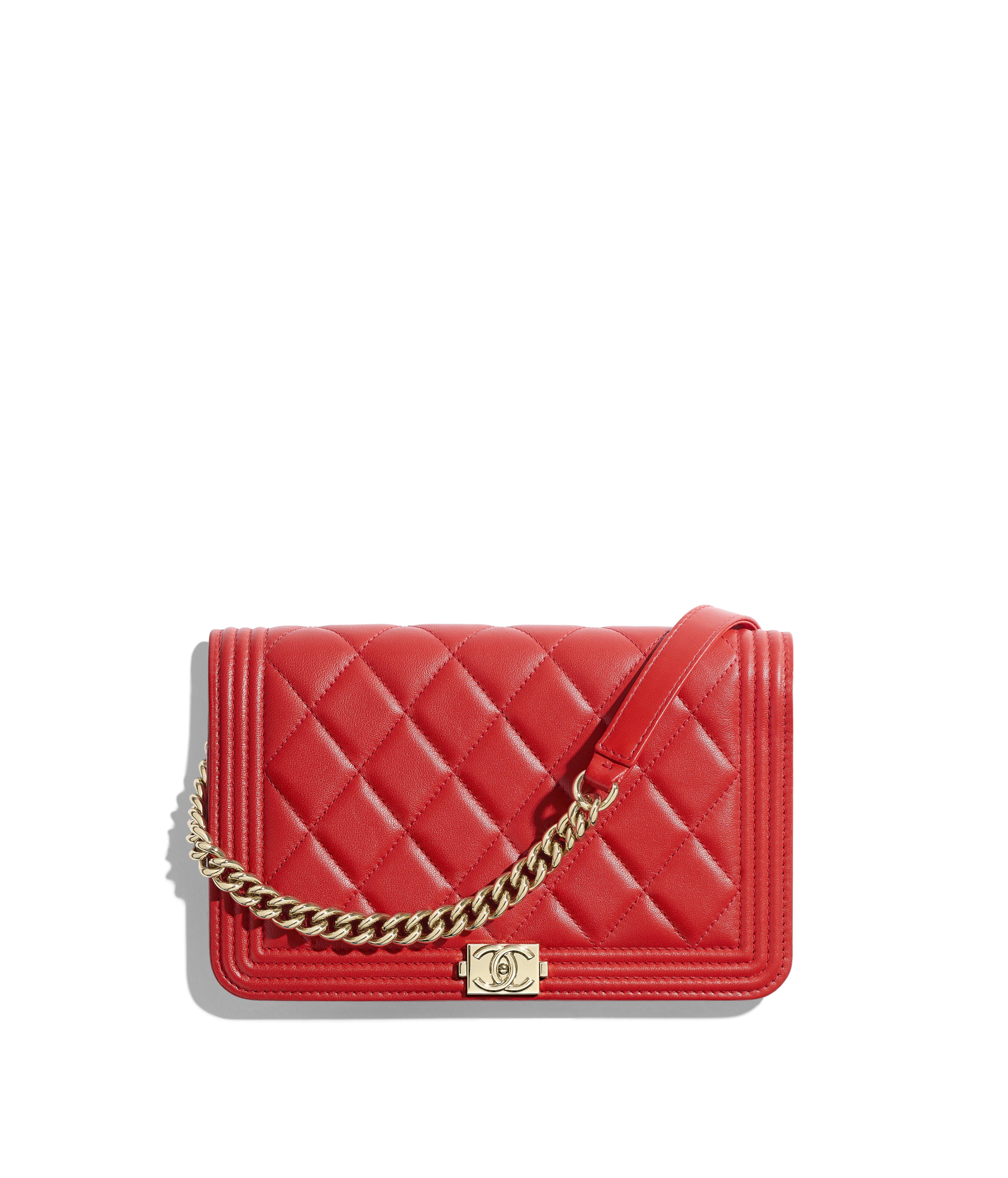 BOY CHANEL Wallet on Chain Lambskin   Gold-Tone Metal, Red Ref.  A81969Y04059N0413 0dc5bb6b5be