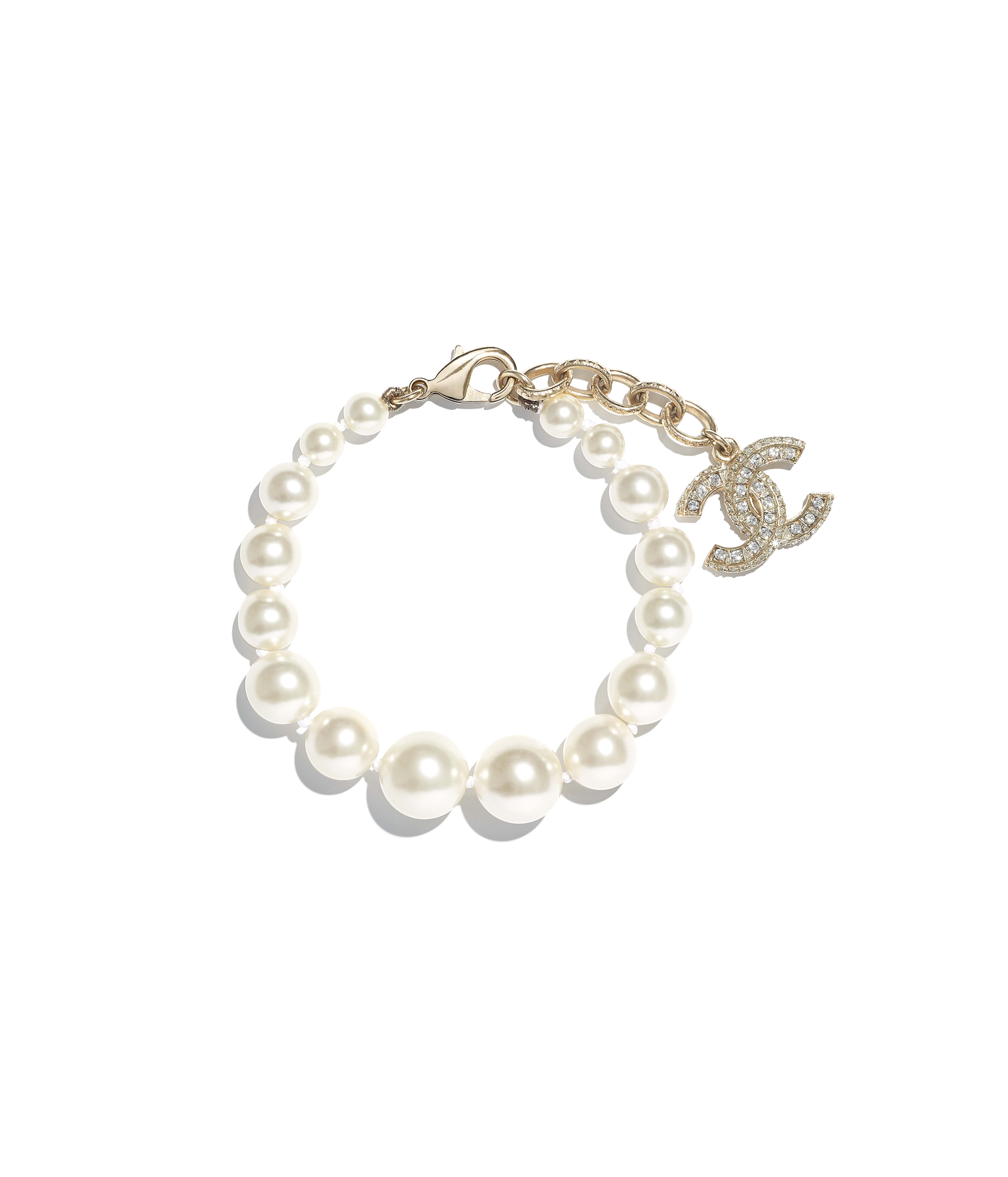 Bracelet Metal Gl Pearls Resin Str Gold Pearly White Crystal Ref A86499y09902z2953