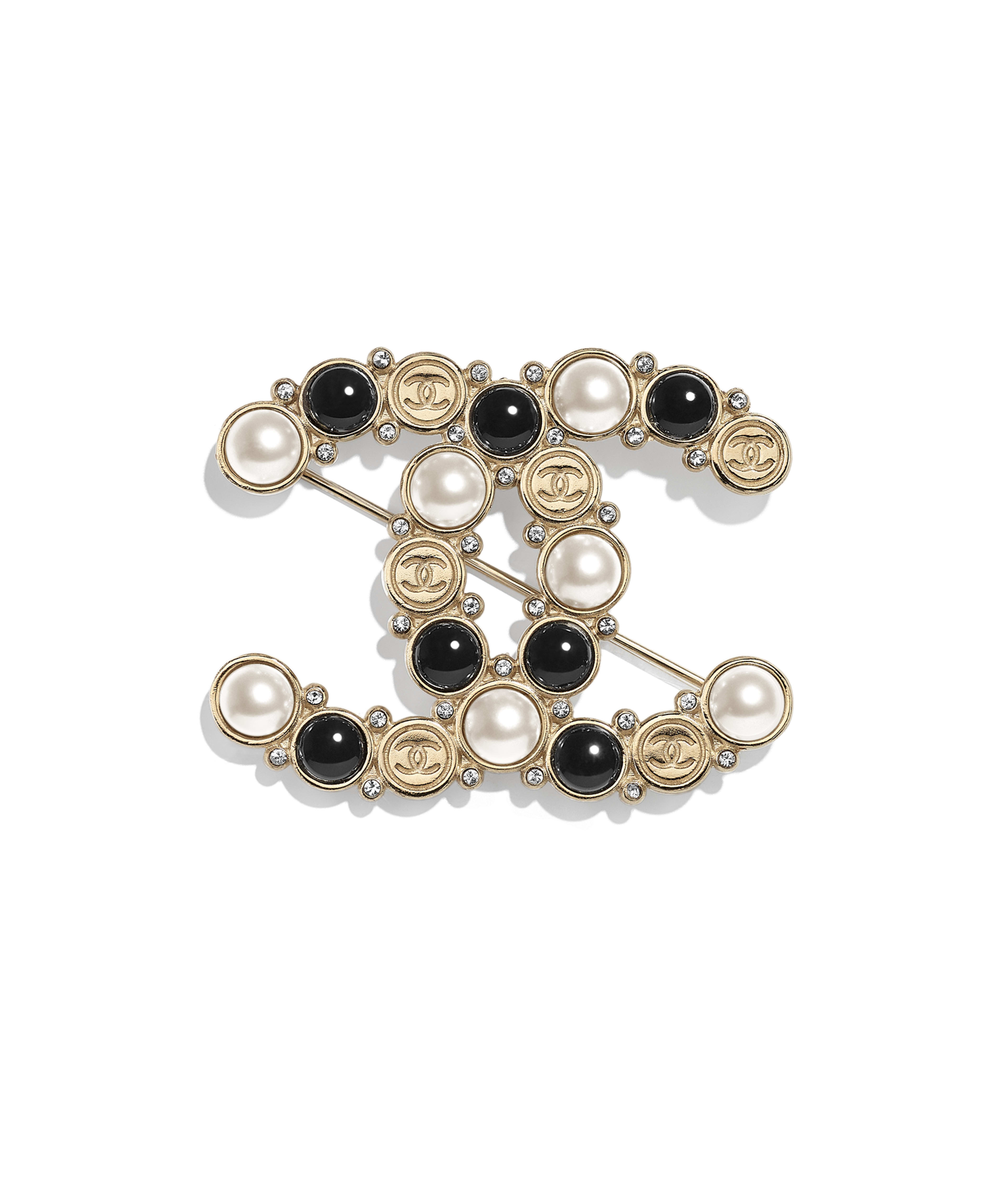 5f1d4160f21 Brooch Metal, Glass Pearls, Imitation Pearls & Strass, Gold, Pearly White,  Black & Crystal Ref. AB2354Y47807Z9232