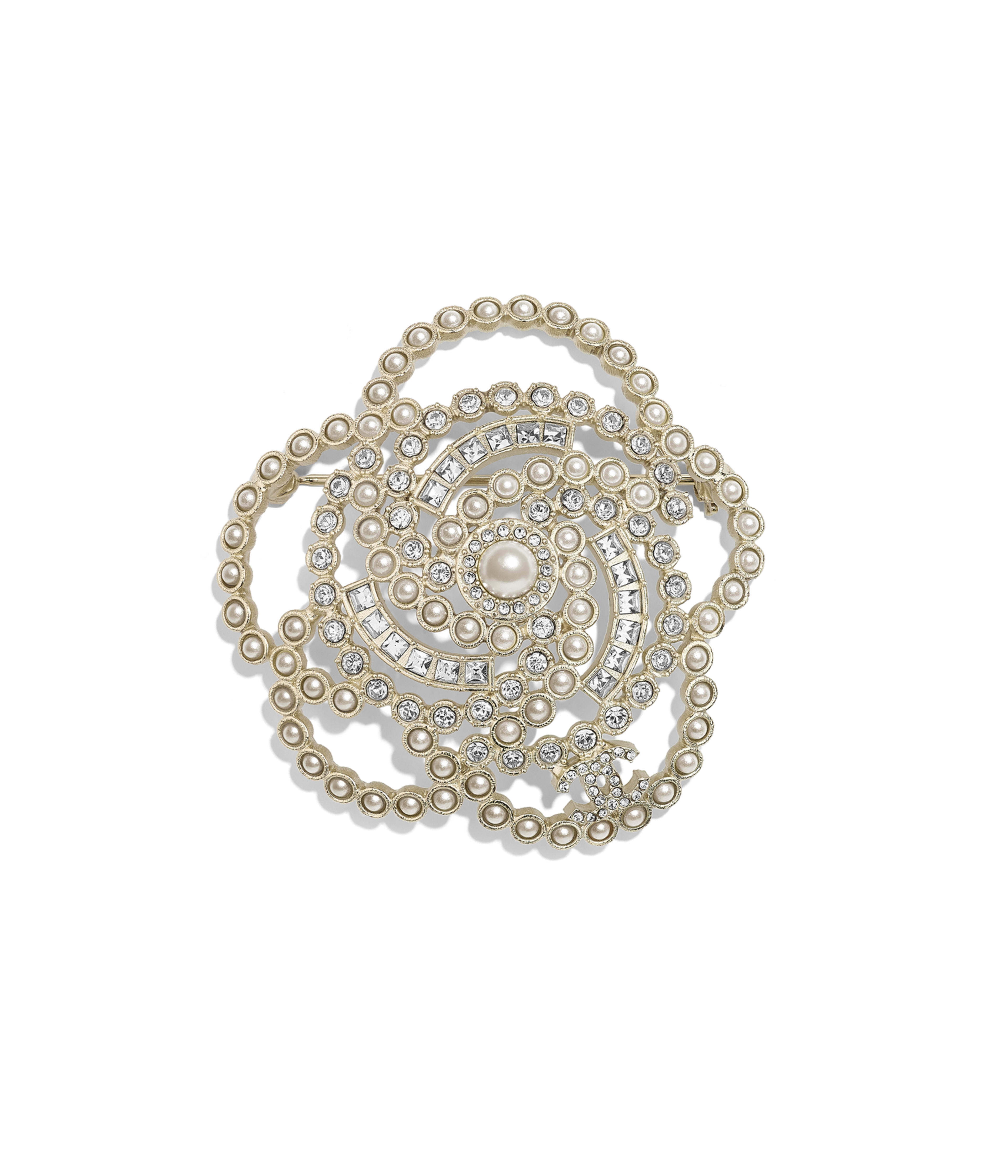 7a9a4147c66 Brooch Metal, Glass Pearls & Strass, Gold, Pearly White & Crystal Ref.  AB2310Y47806Z2953