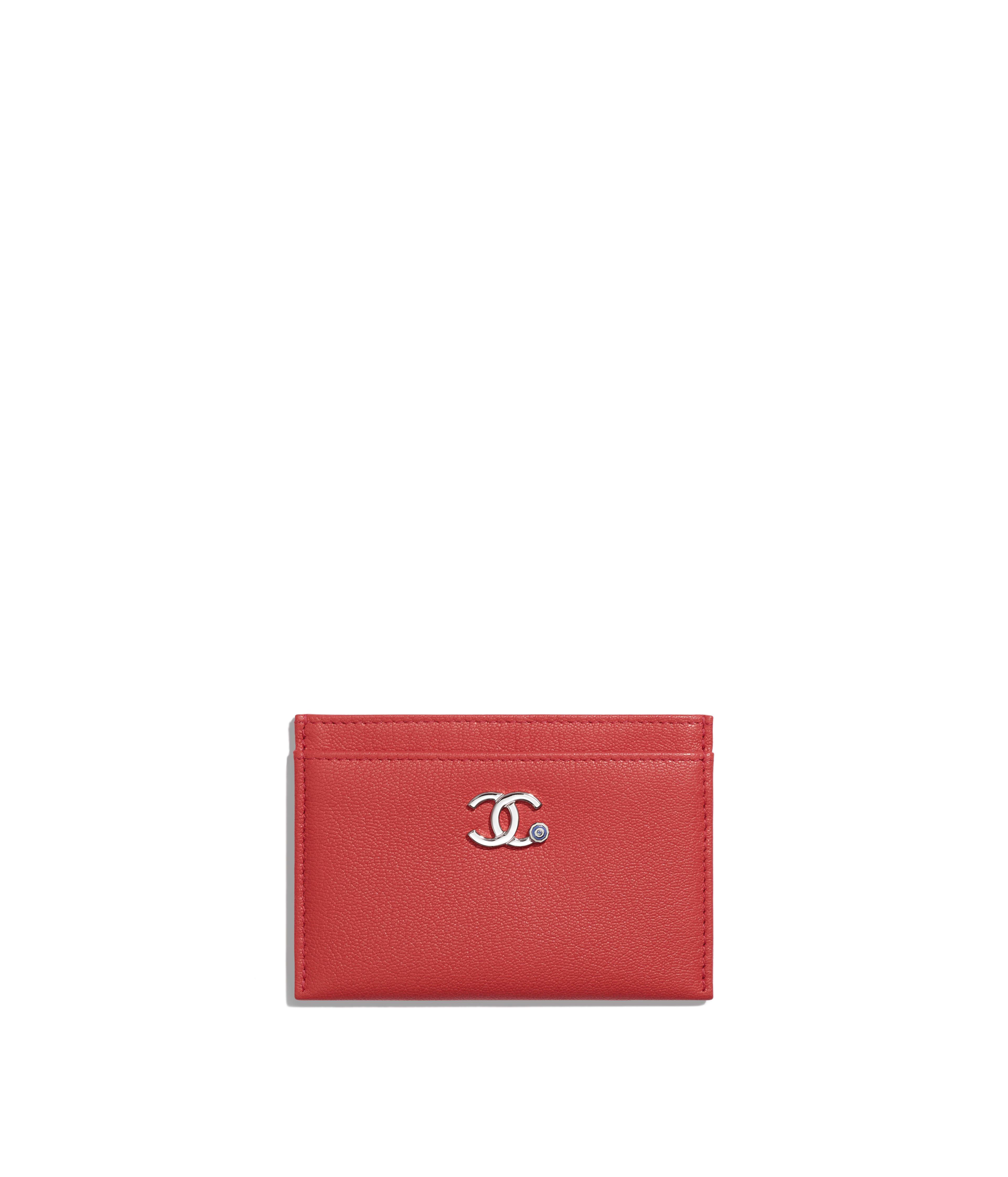 260346e4d64e Card Holder Goatskin & Silver-Tone Metal, Red Ref. AP0269B00322N4511