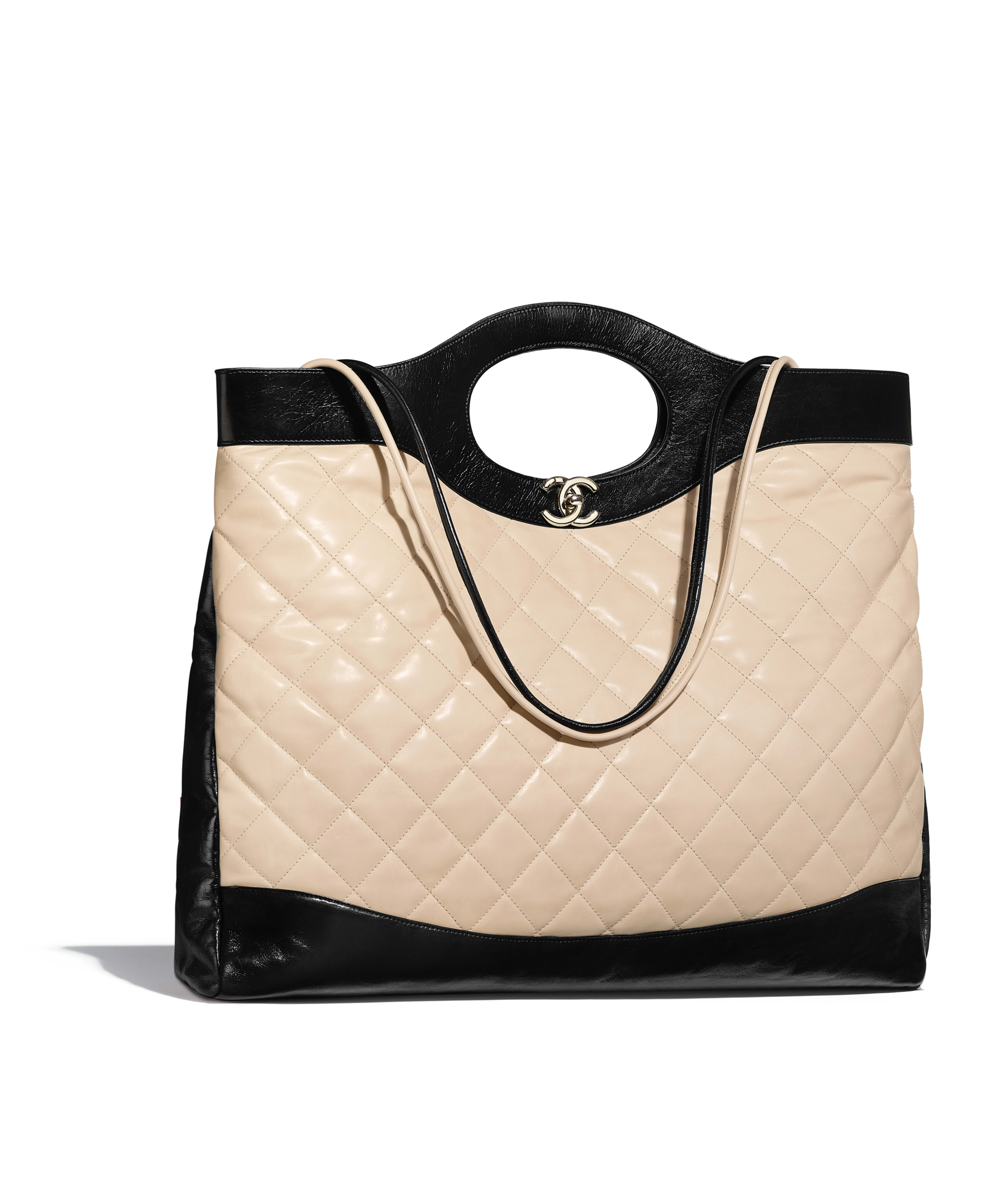 Chanel 31 Large Ping Bag Aged Calfskin Gold Tone Metal Beige Black Ref A57978y84012c1633