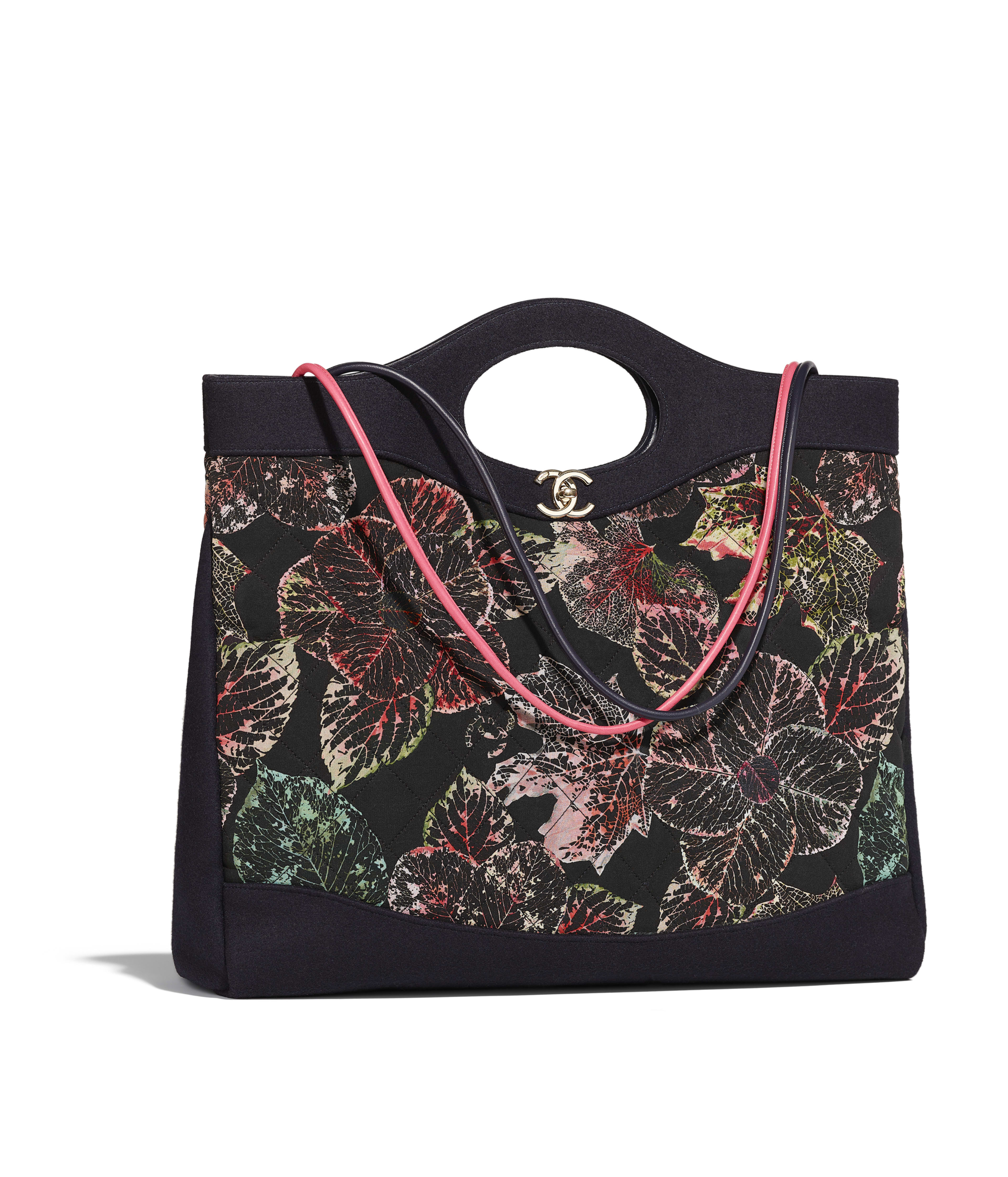 Chanel 31 Large Ping Bag Calfskin Silk Cotton Wool Gold Tone Metal Black Ecru Red Green Ref A57978y84007k1219