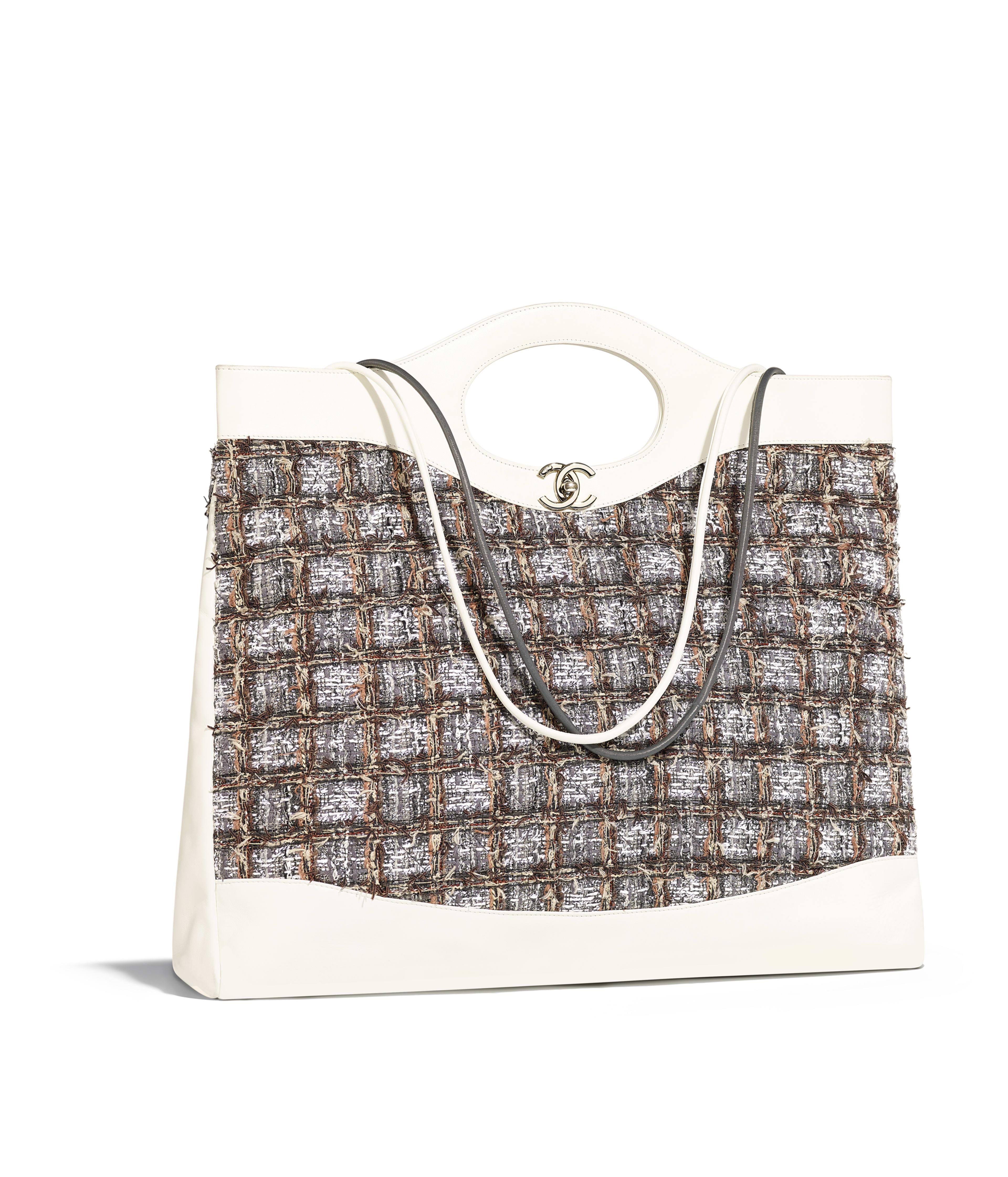Chanel 31 Large Ping Bag Calfskin Tweed Gold Tone Metal Gray Beige Brown White Ref A57978y84009k1173