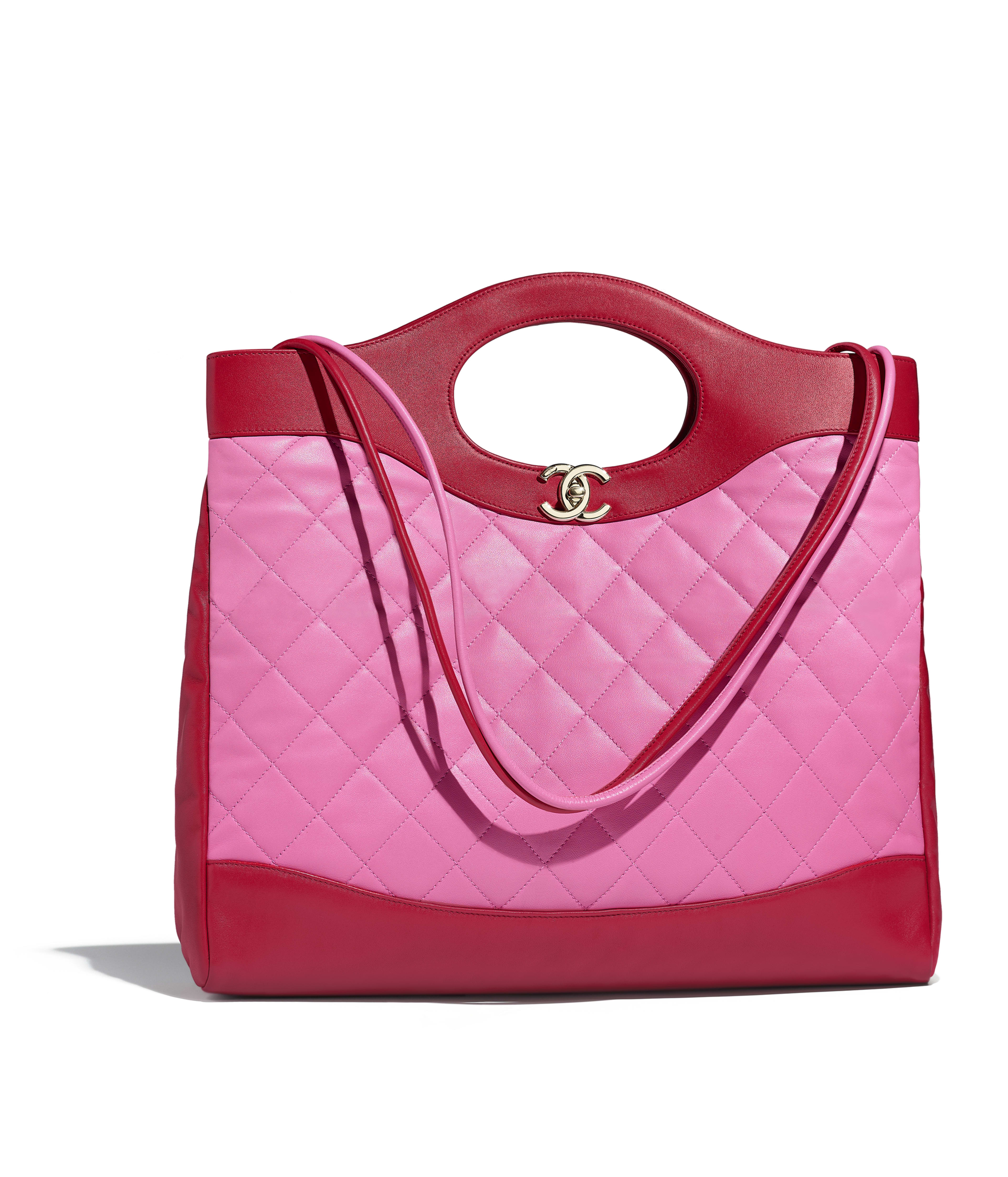 Chanel 31 Large Ping Bag Lambskin Gold Tone Metal Red Pink Ref A57977y83999k1172