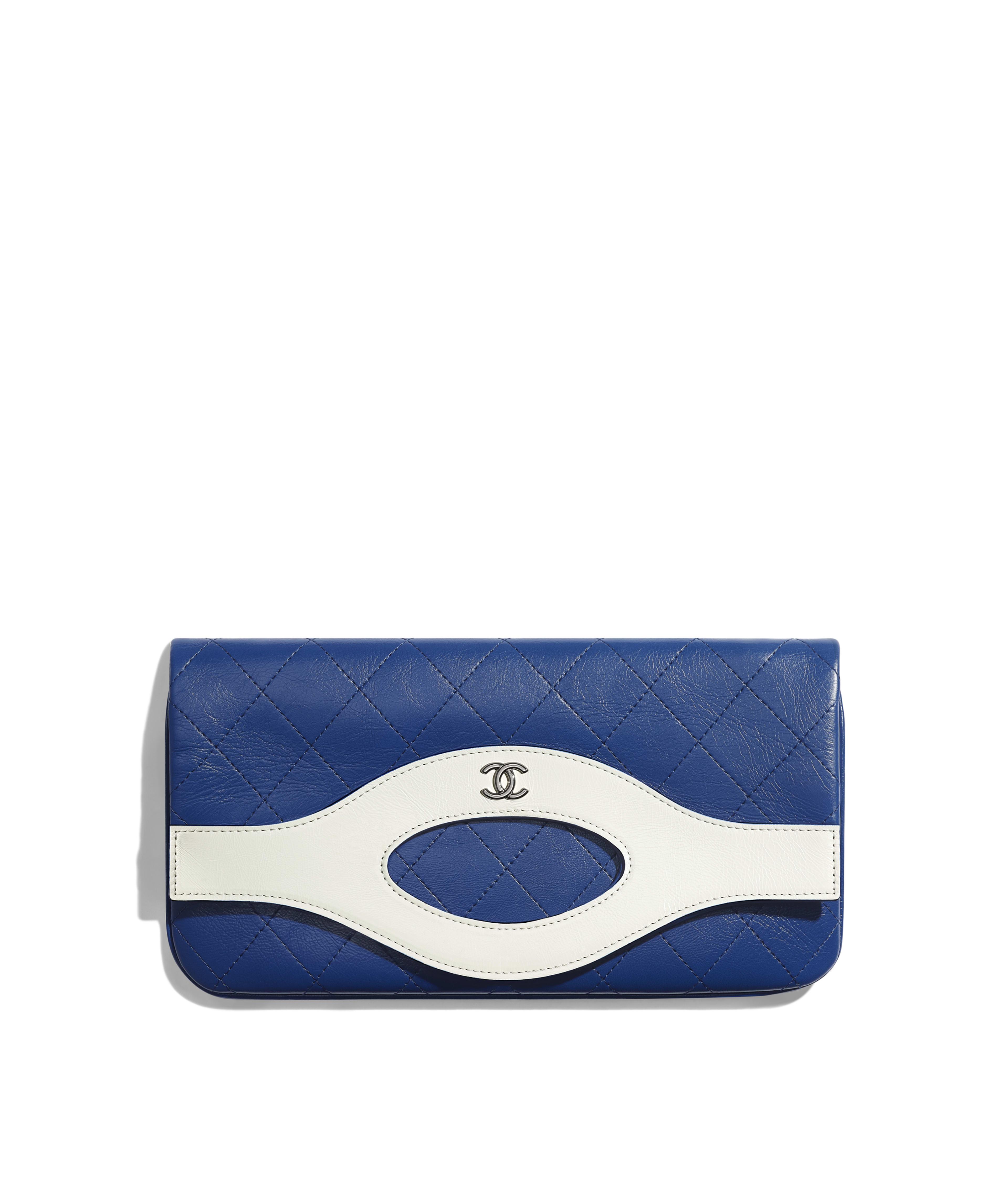 Chanel 31 Pouch Aged Calfskin Silver Tone Metal Blue White Ref A70520y33424c3315