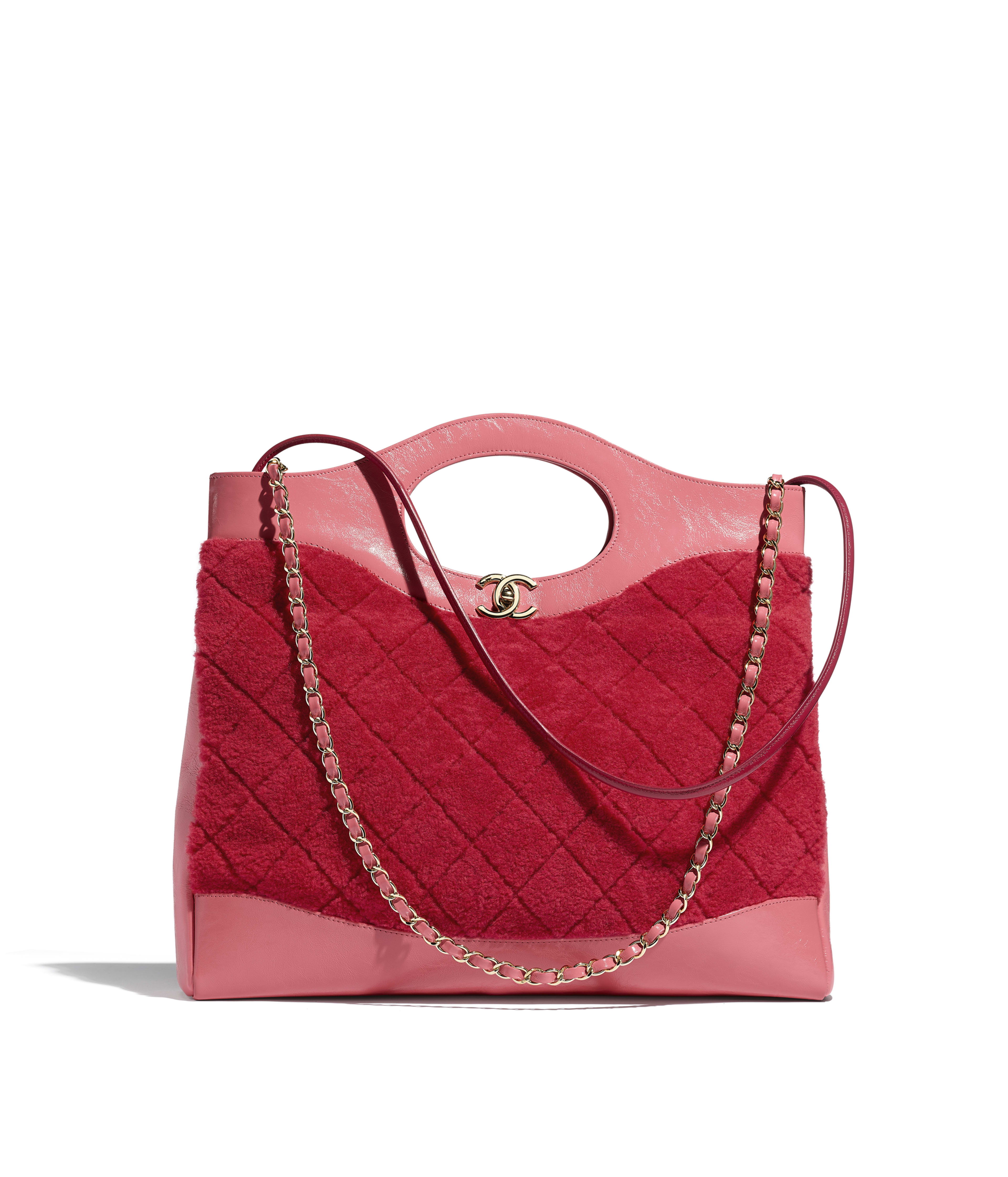 6ceb43bad4394 CHANEL 31 Shopping Bag Shearling Sheepskin, Calfskin & Gold-Tone Metal, Red  & Pink Ref. AS1010B01212N0437