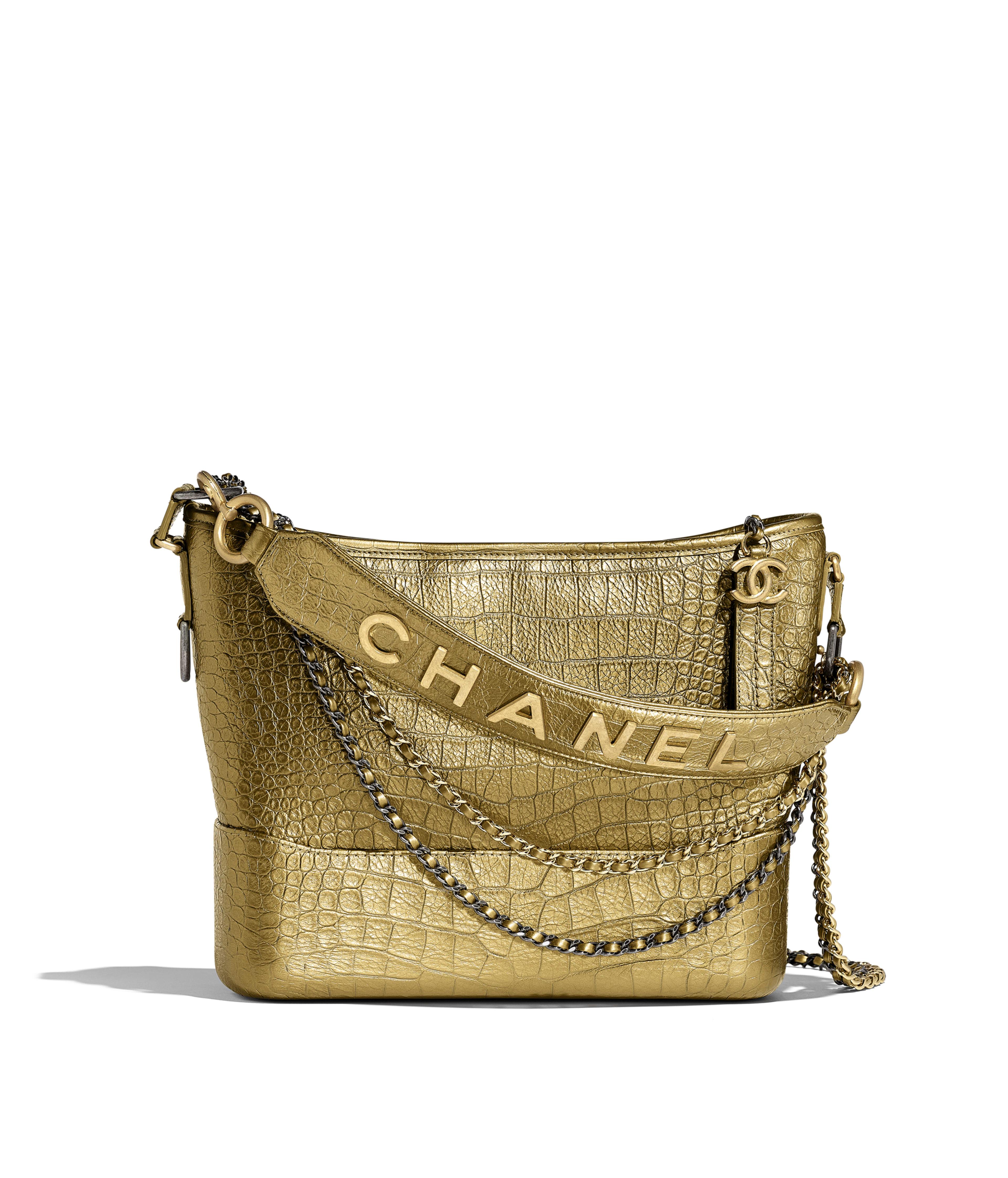 6e2ddebc4cbc CHANEL'S GABRIELLE Hobo Bag Metallic Crocodile Embossed Calfskin, Gold-Tone  & Silver-Tone Metal, Gold Ref. AS0866B00814N4775