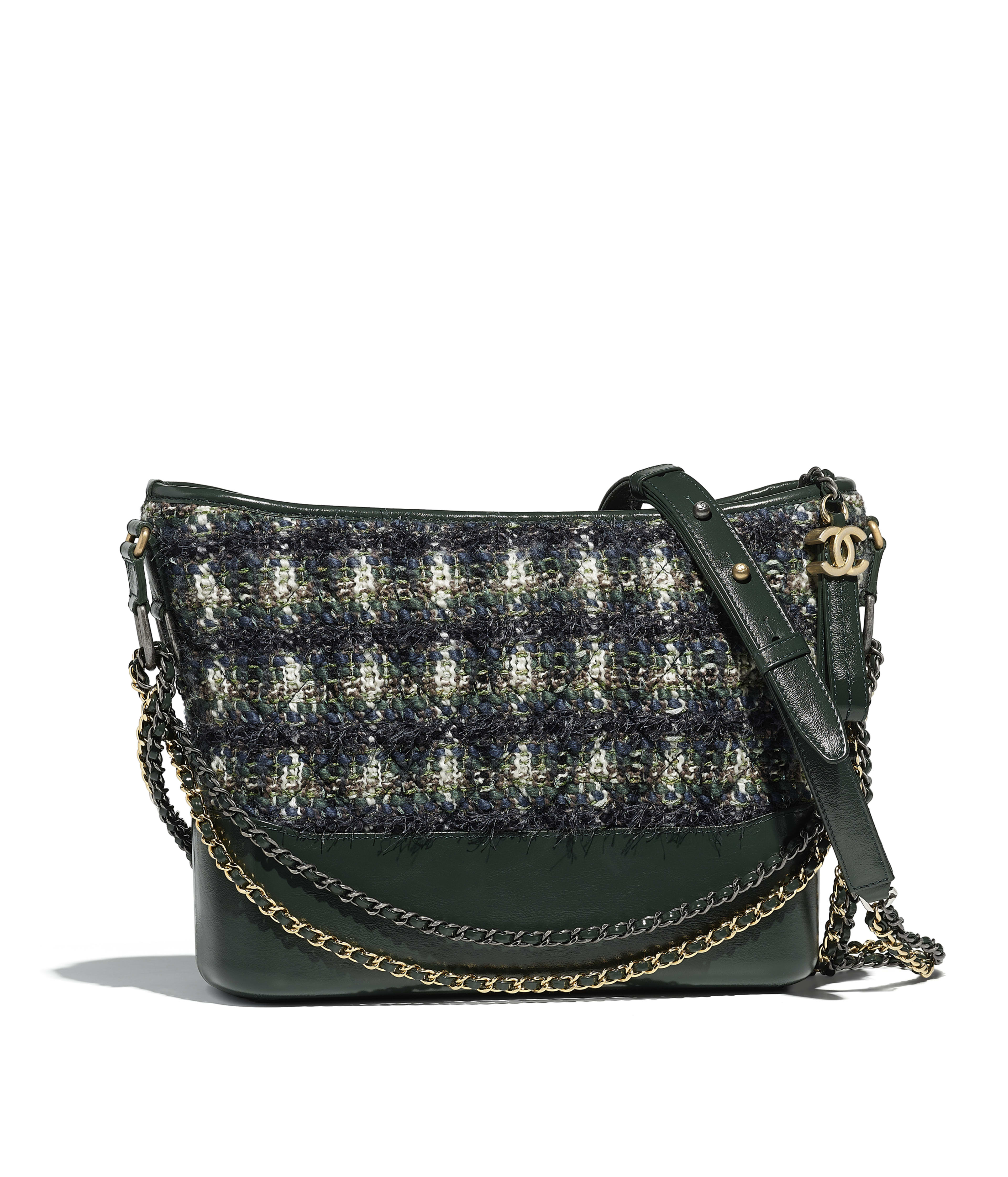 Chanel S Gabrielle Hobo Bag Tweed Calfskin Silver Tone Gold Metal Green Blue White Ref A93824y83989k1124