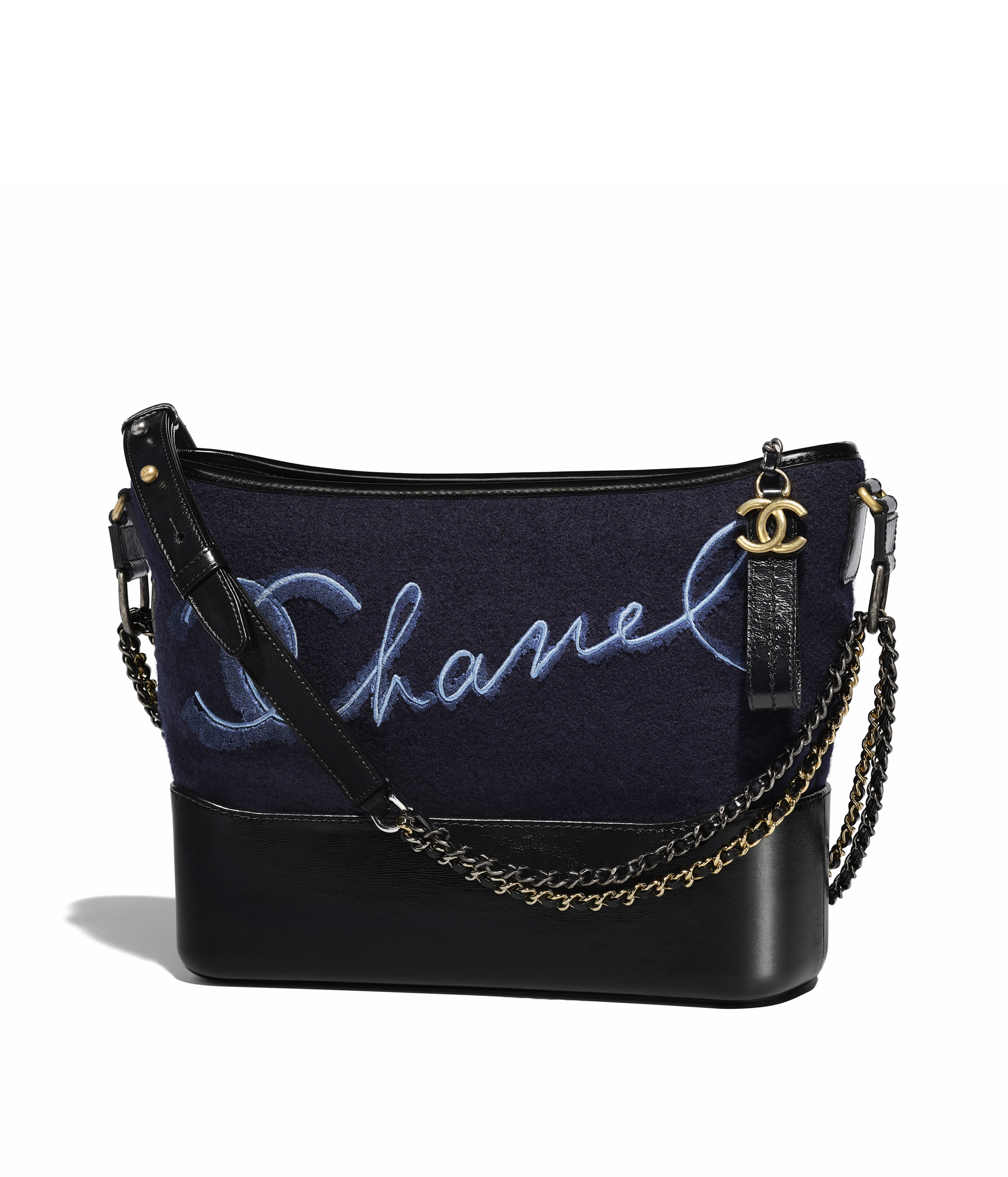 Chanel S Gabrielle Hobo Bag Embroidered Wool Calfskin Silver Tone Gold Metal Navy Blue Ref A93824y83758c1722
