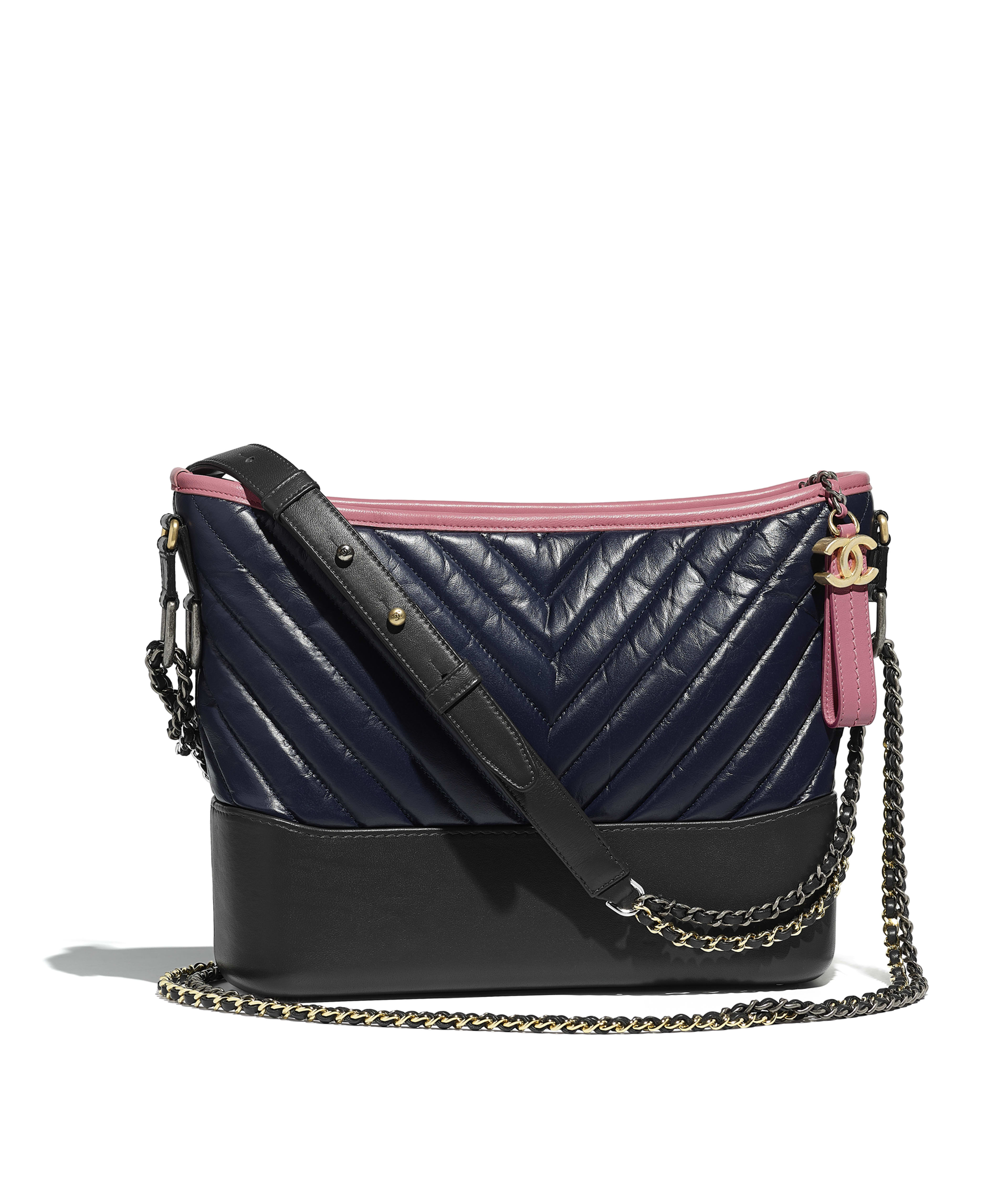 Chanel S Gabrielle Hobo Bag Aged Calfskin Smooth Silver Tone Gold Metal Navy Blue Charcoal Pink Ref A93824y83983k1165