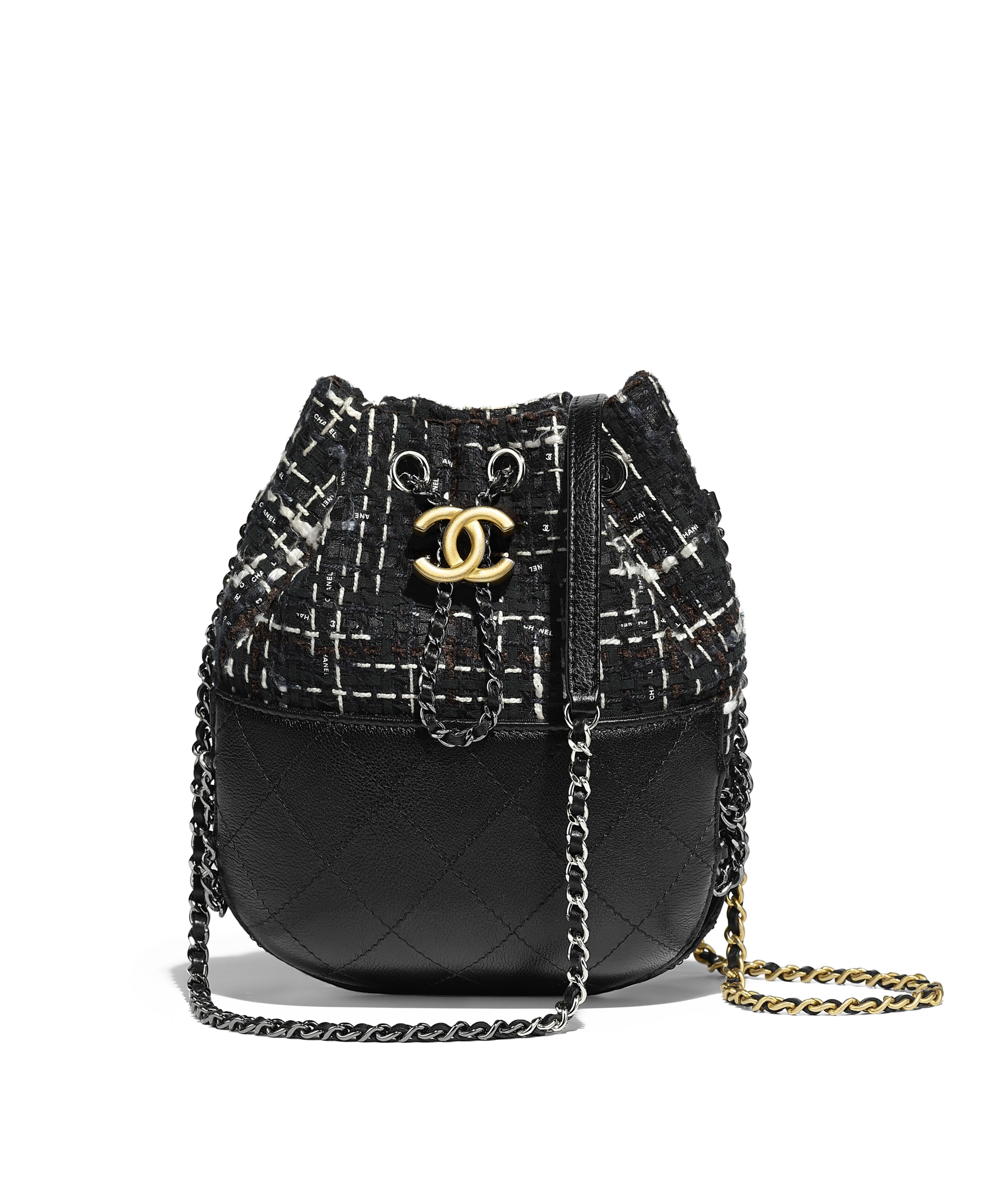Chanel S Gabrielle Purse Tweed Calfskin Silver Tone Gold Metal Black Navy Brown Ecru Ref A98787y83876k0991