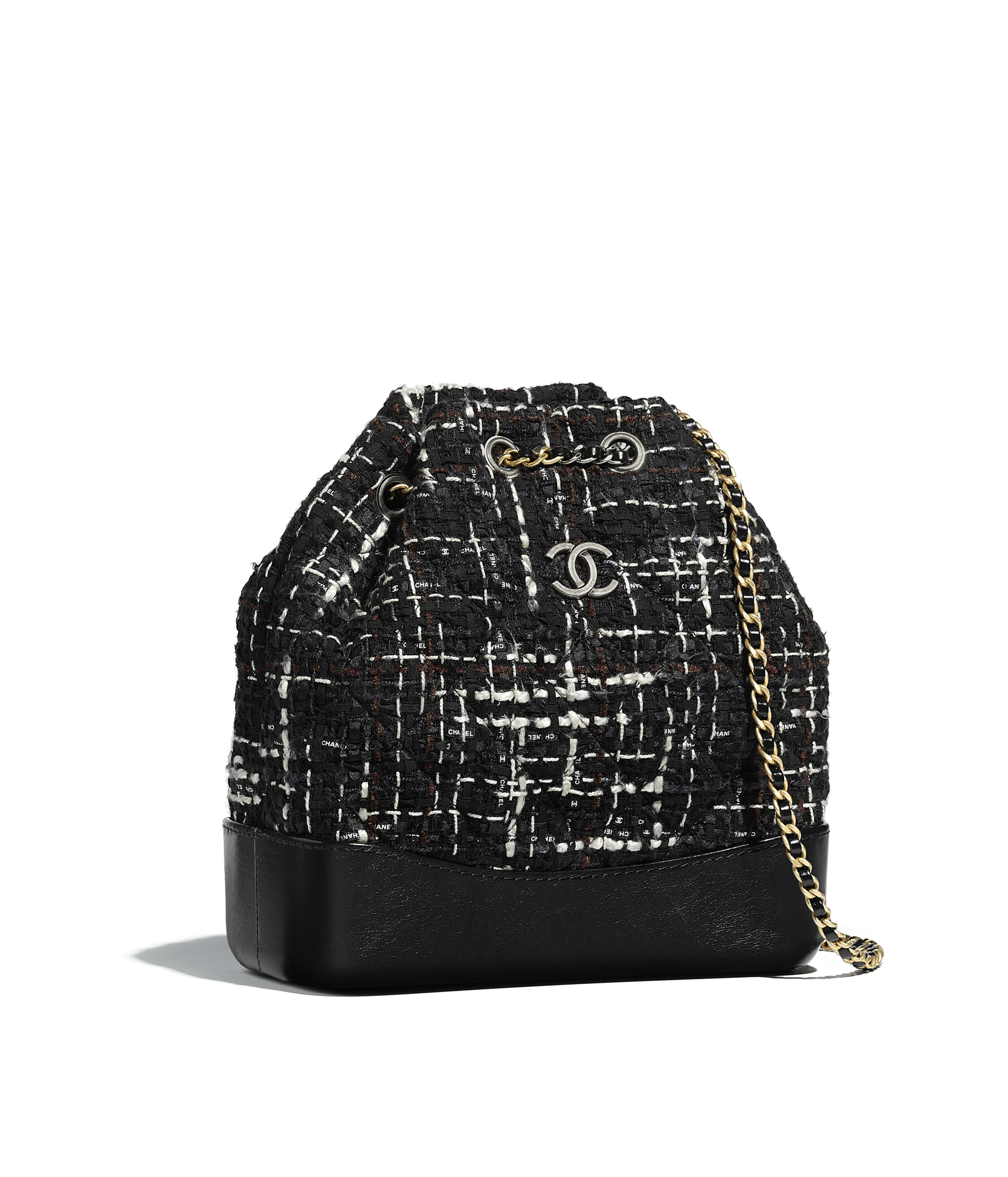 Chanel S Gabrielle Small Backpack Tweed Calfskin Silver Tone Gold Metal Black Navy Brown Ecru Ref A94485y83781k0991