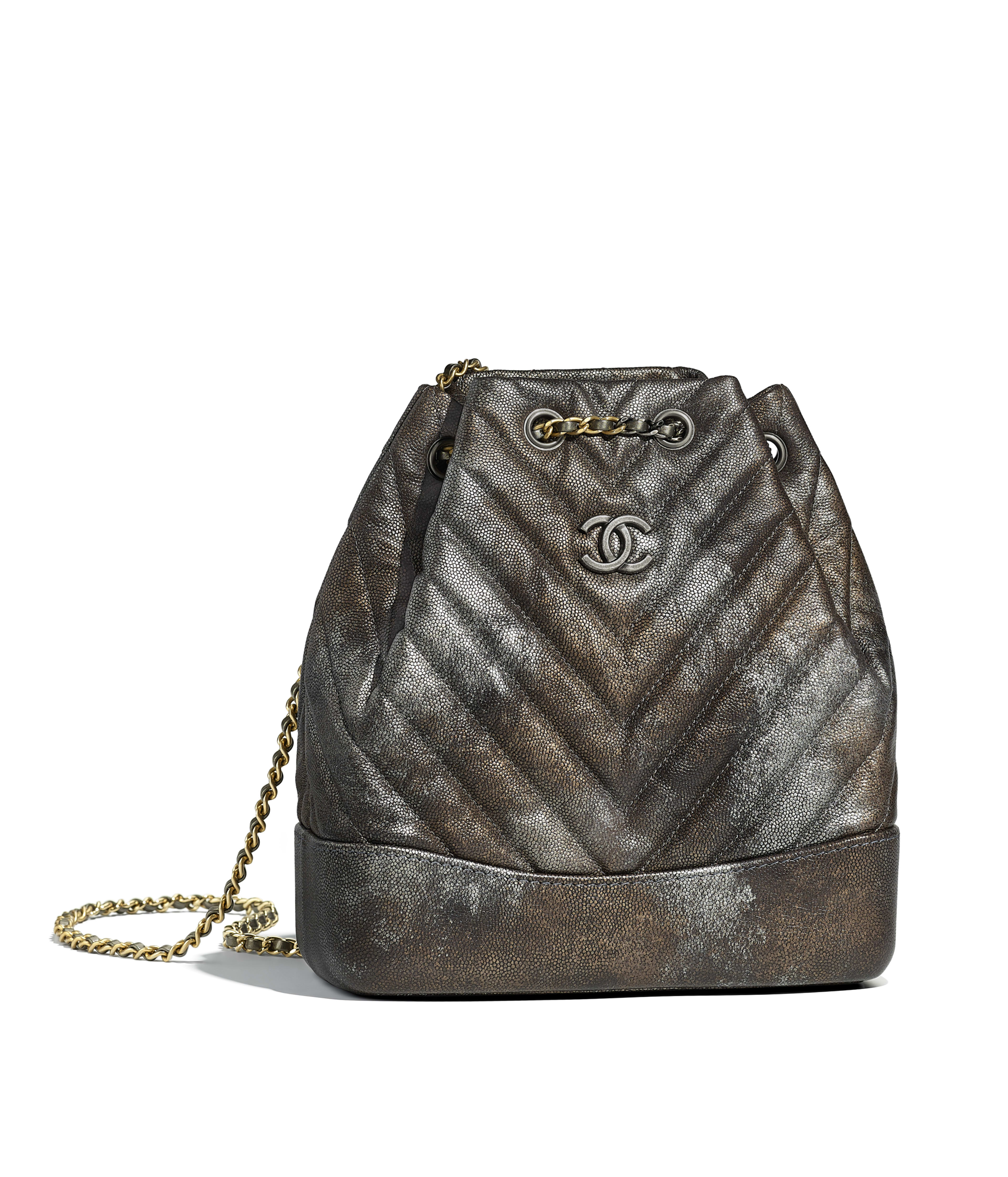 Chanel S Gabrielle Small Backpack Metallic Grained Goatskin Silver Tone Gold Metal Dark Ref A94485y83933k1121