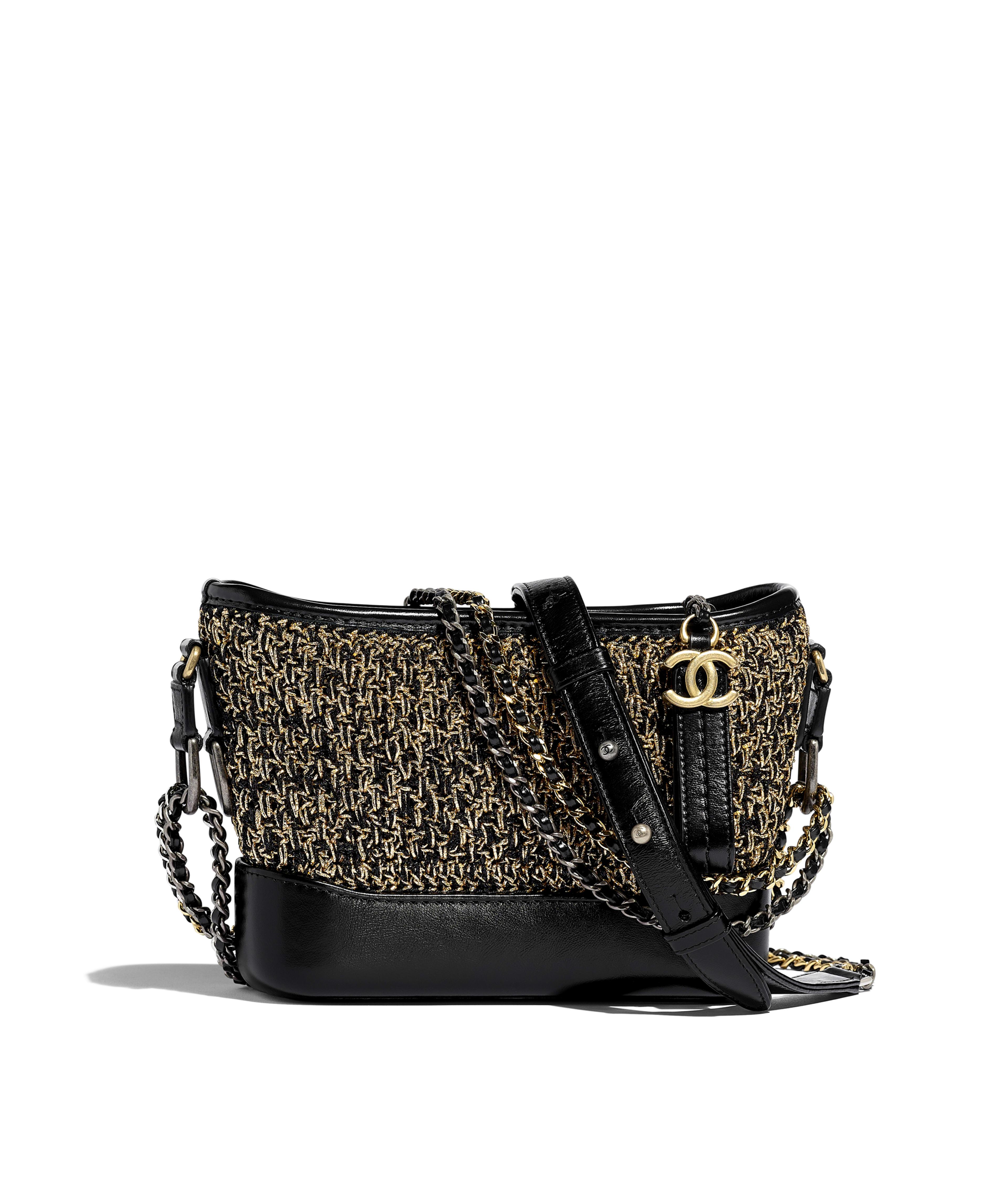 ac96491ca7 CHANEL'S GABRIELLE Small Hobo Bag Cotton, Calfskin, Gold-Tone & Silver-Tone  Metal, Black & Gold Ref. A91810B00953N0784