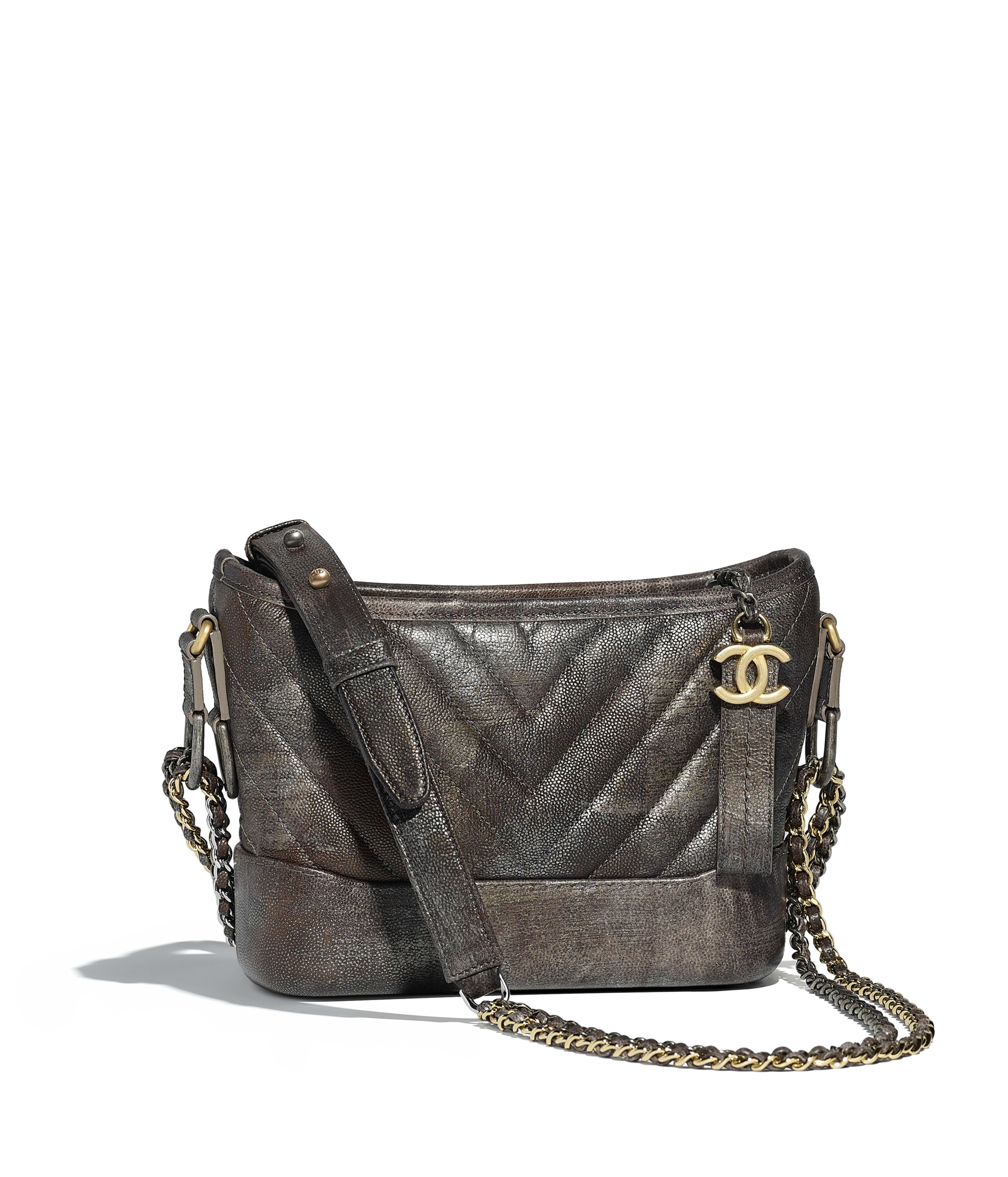 beab74ded6e CHANEL S GABRIELLE Small Hobo Bag Metallic Grained Goatskin, Silver-Tone    Gold-Tone Metal, Dark silver   gold Ref. A91810Y83933K1121