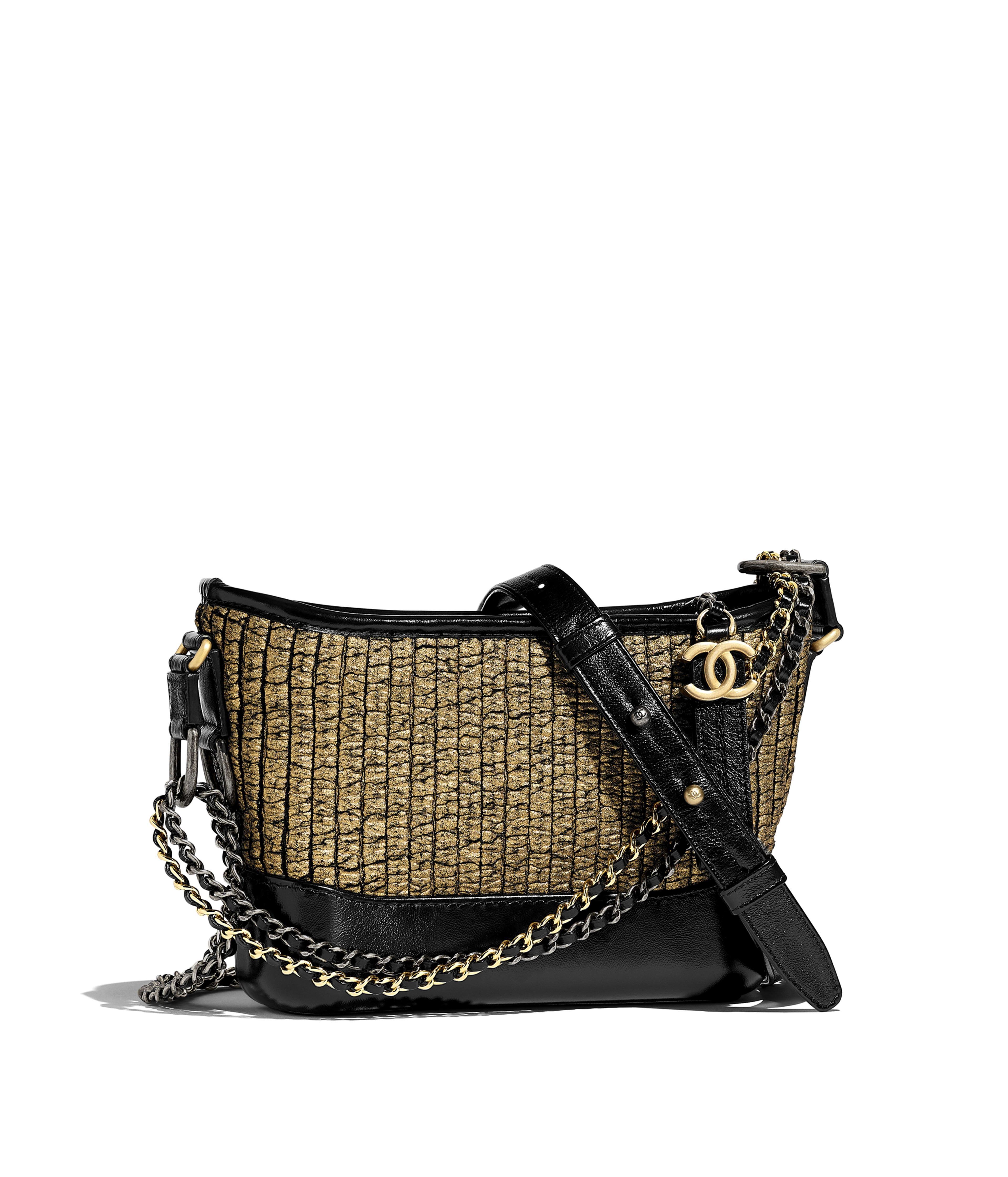 b770aae4b2 CHANEL'S GABRIELLE Small Hobo Bag Tweed, Calfskin, Gold-Tone & Silver-Tone  Metal, Gold & Black Ref. A91810B00746N4790