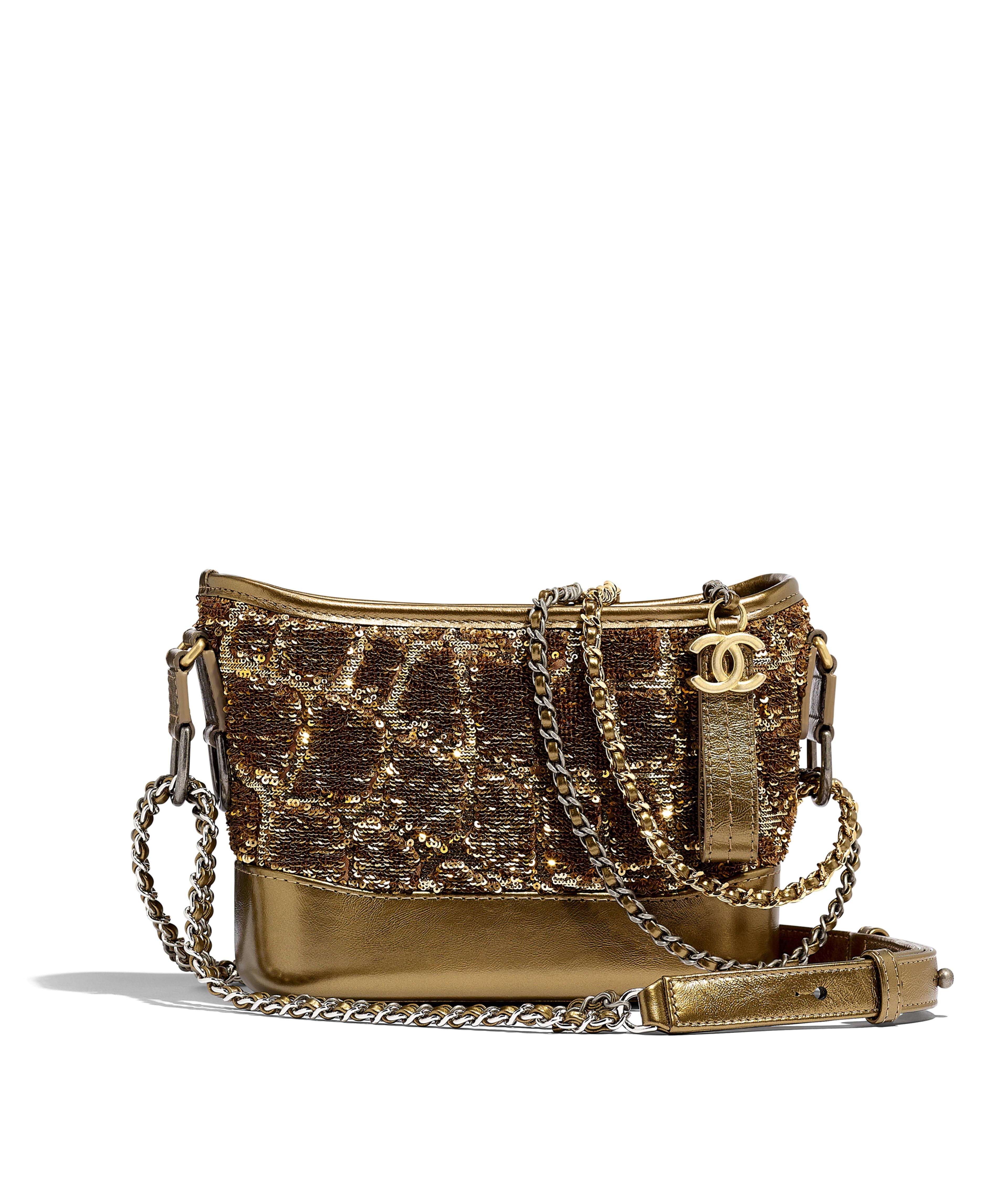 d3ecbe1c42 CHANEL'S GABRIELLE Small Hobo Bag Sequins, Calfksin, Silver-Tone &  Gold-Tone Metal, Gold & Copper Ref. A91810B00883N4739