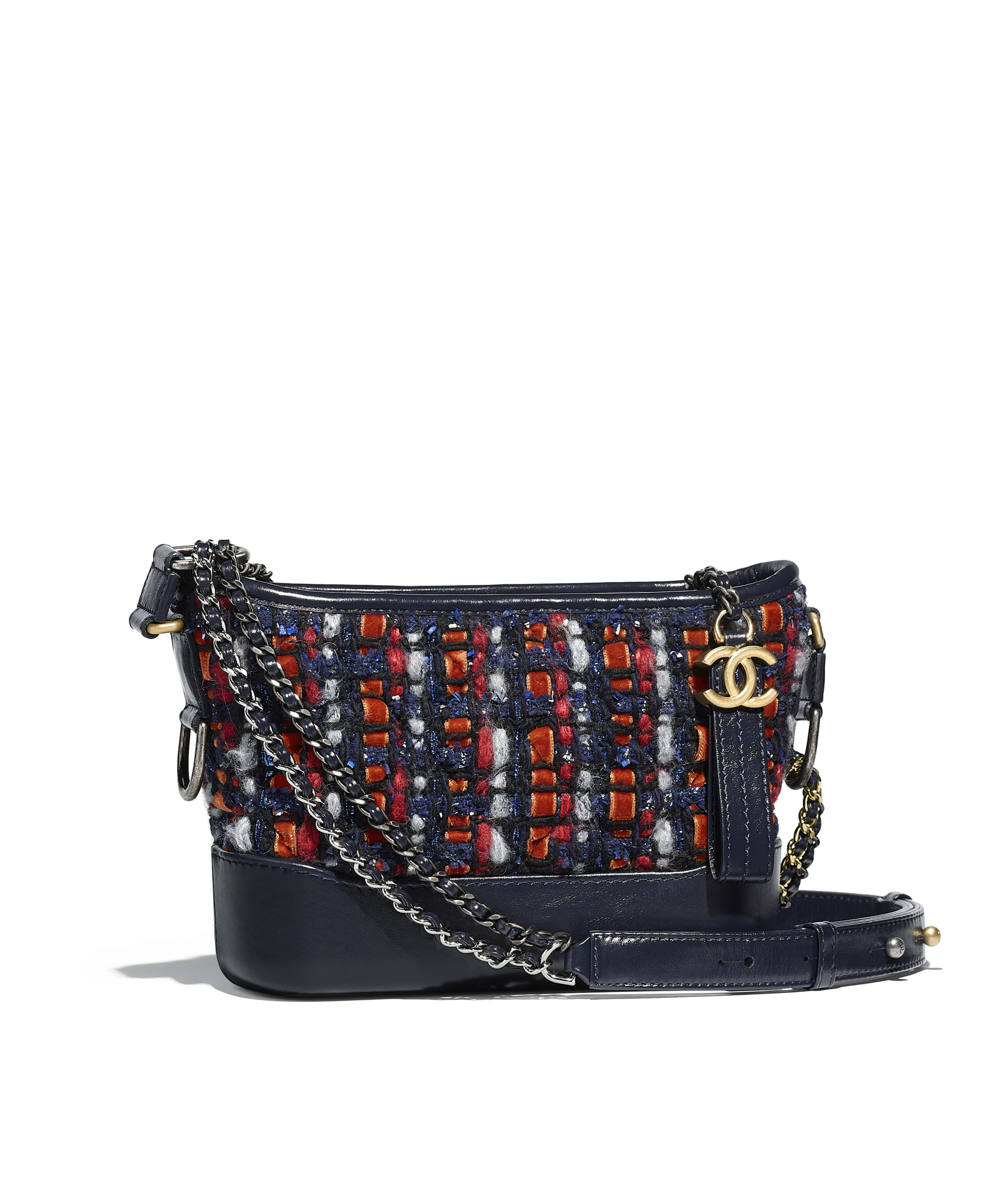 Chanel S Gabrielle Small Hobo Bag Tweed Calfskin Silver Tone Gold Metal Navy Blue Orange Red White Ref A91810y83700k0915