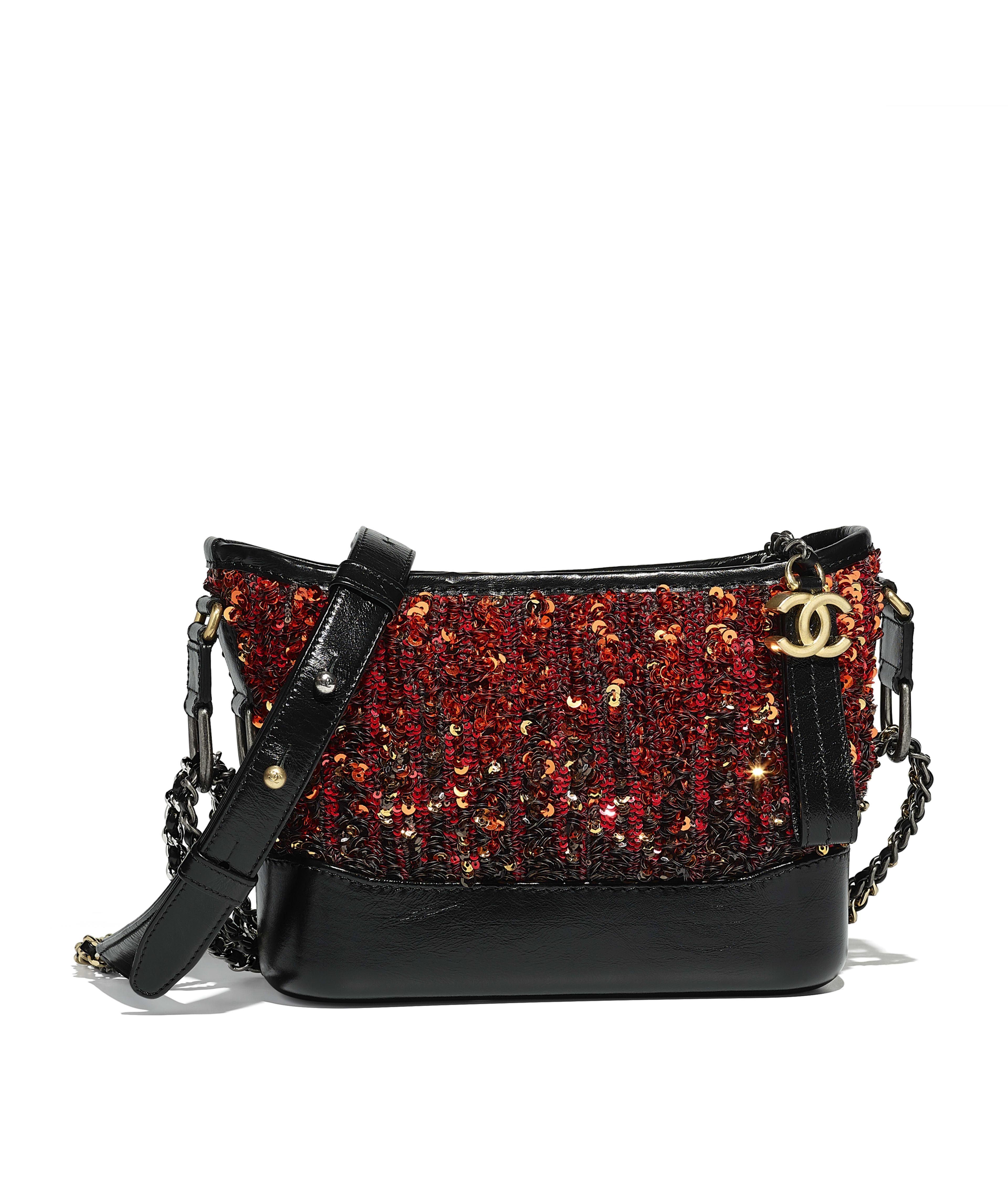 Chanel S Gabrielle Small Hobo Bag Sequins Calfksin Silver Tone Gold Metal Orange Black Ref A91810y83946c2017