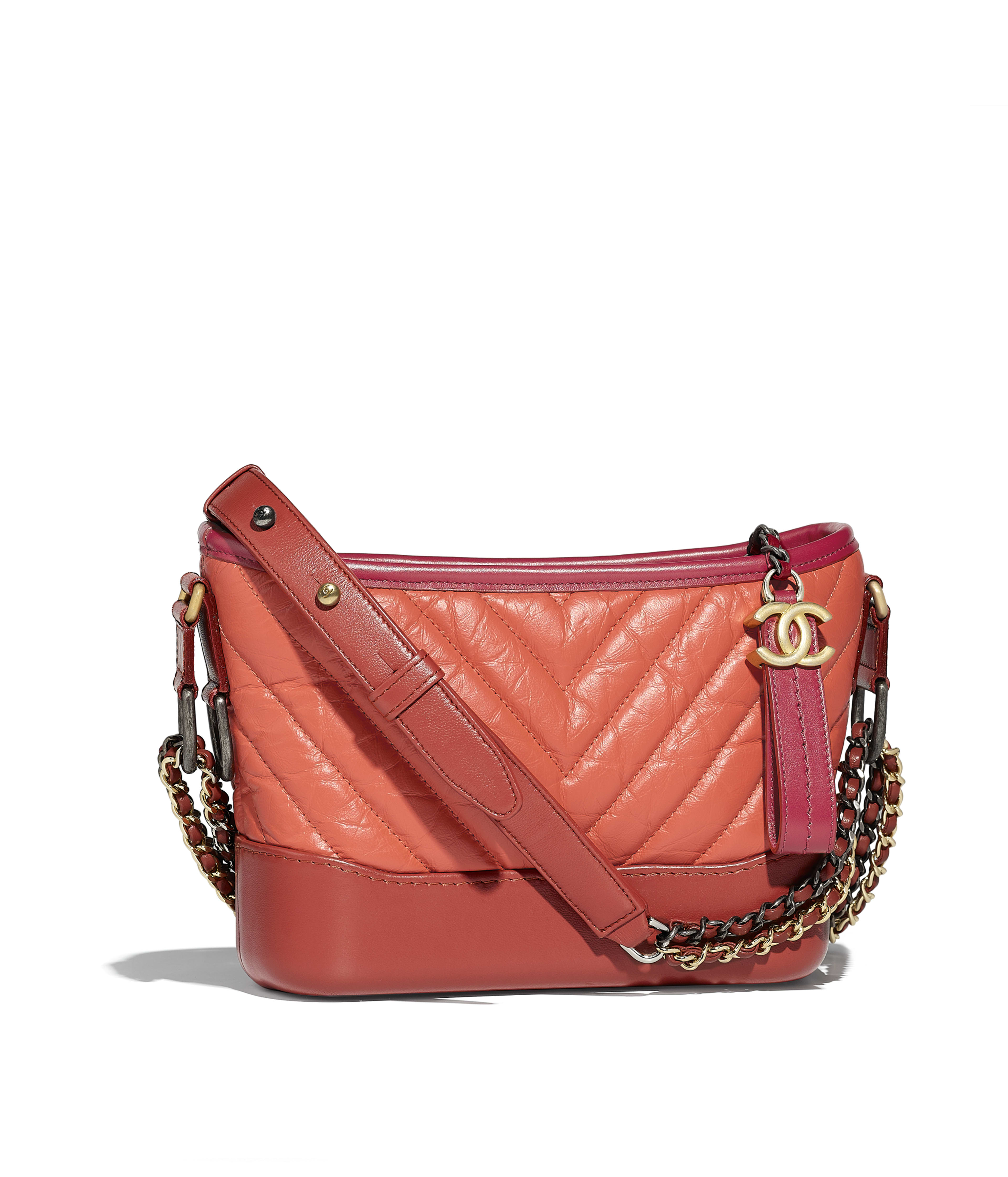 Chanel S Gabrielle Small Hobo Bag Aged Calfskin Smooth Silver Tone Gold Metal Orange Dark Red Ref A91810y83983k1164