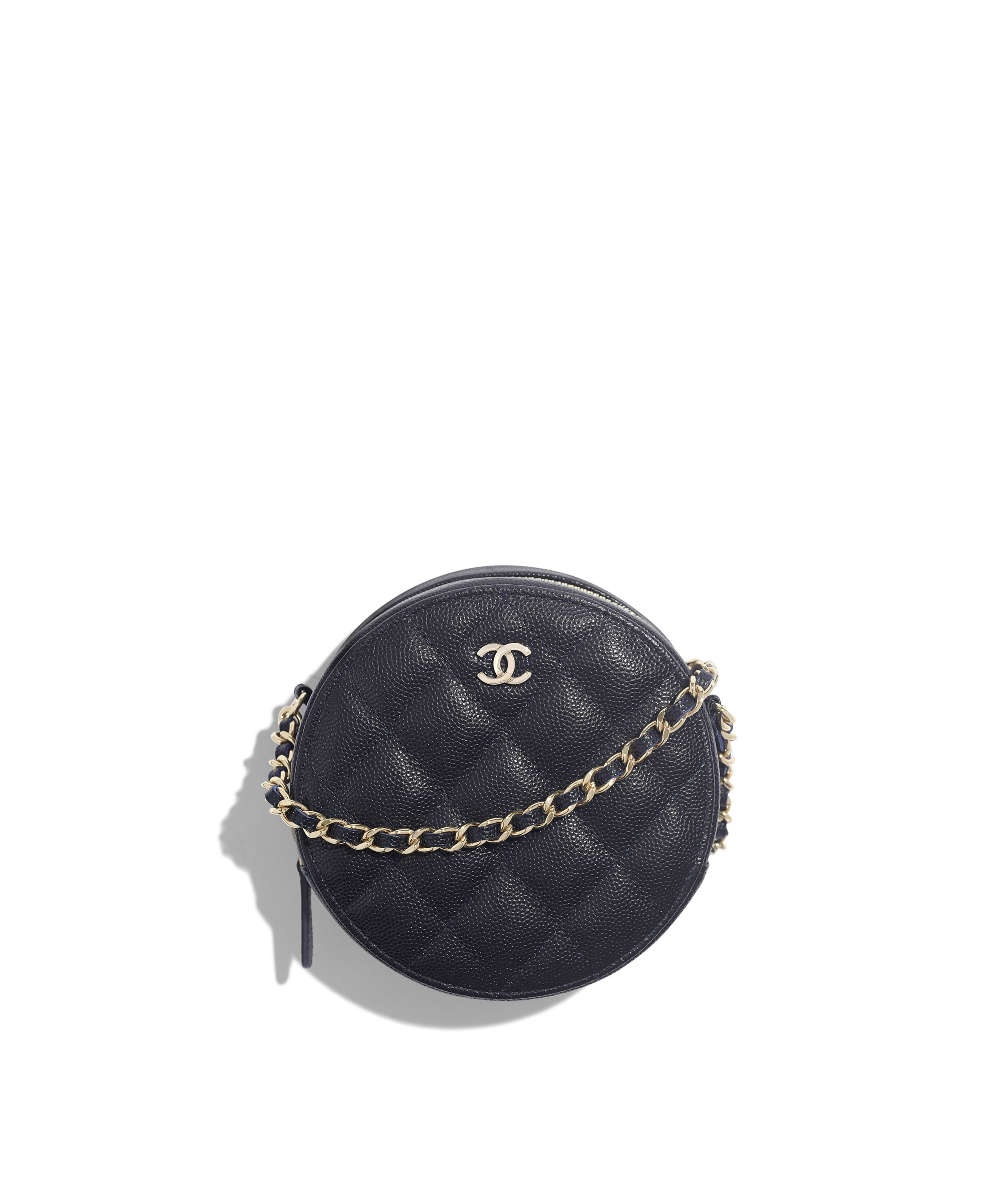 6126298c69b1d Classic Clutch with Chain Grained Calfskin & Gold-Tone Metal, Navy Blue  Ref. AP0245Y33352N4858