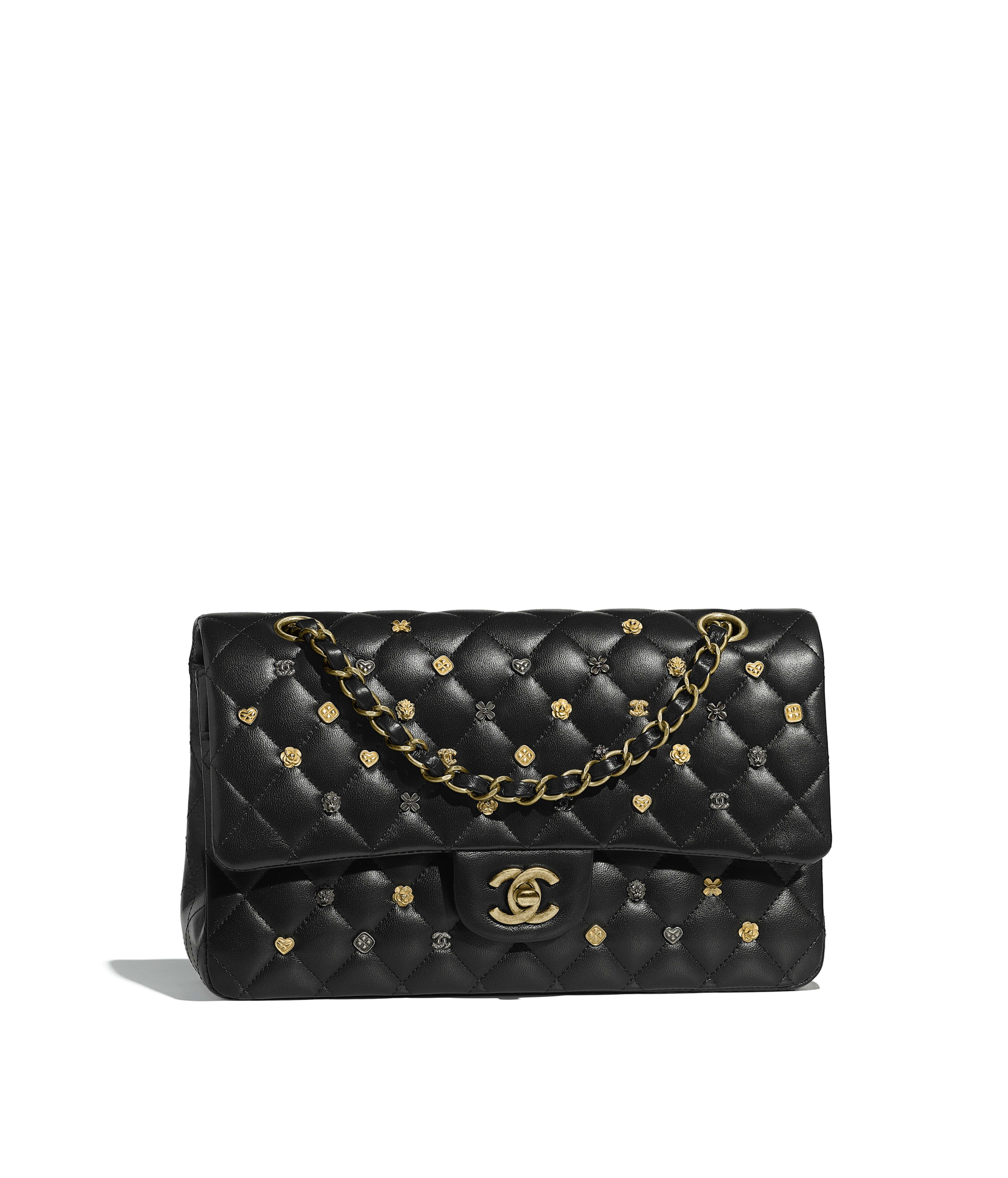 a1cbb01fcdc Classic Handbag Lambskin, Gold-Tone   Ruthenium-Finish Metal, Black Ref.  A01112Y8404994305