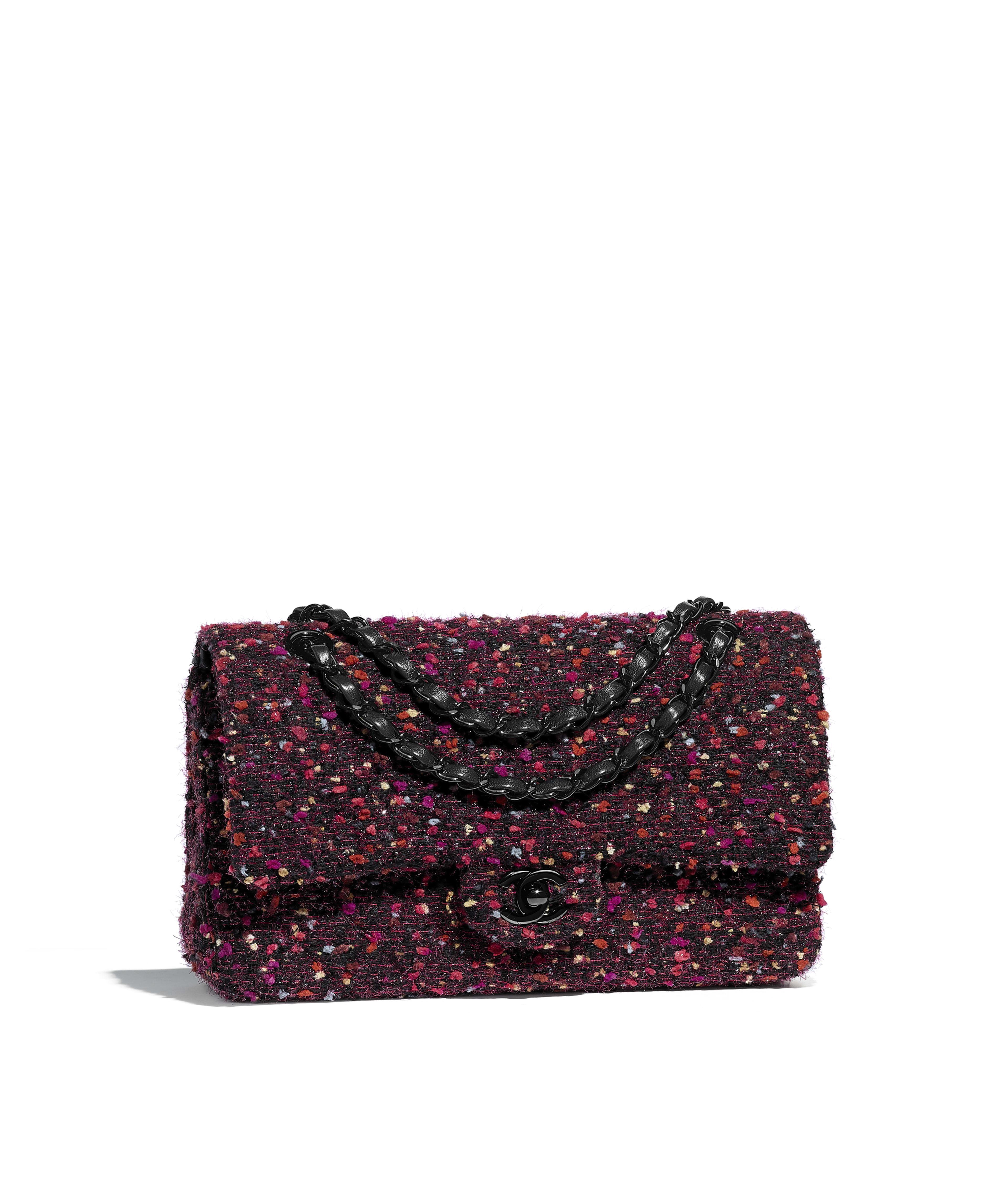 Classic Handbag Tweed Black Metal Purple Pink Burgundy Ref A01112y83891mf281