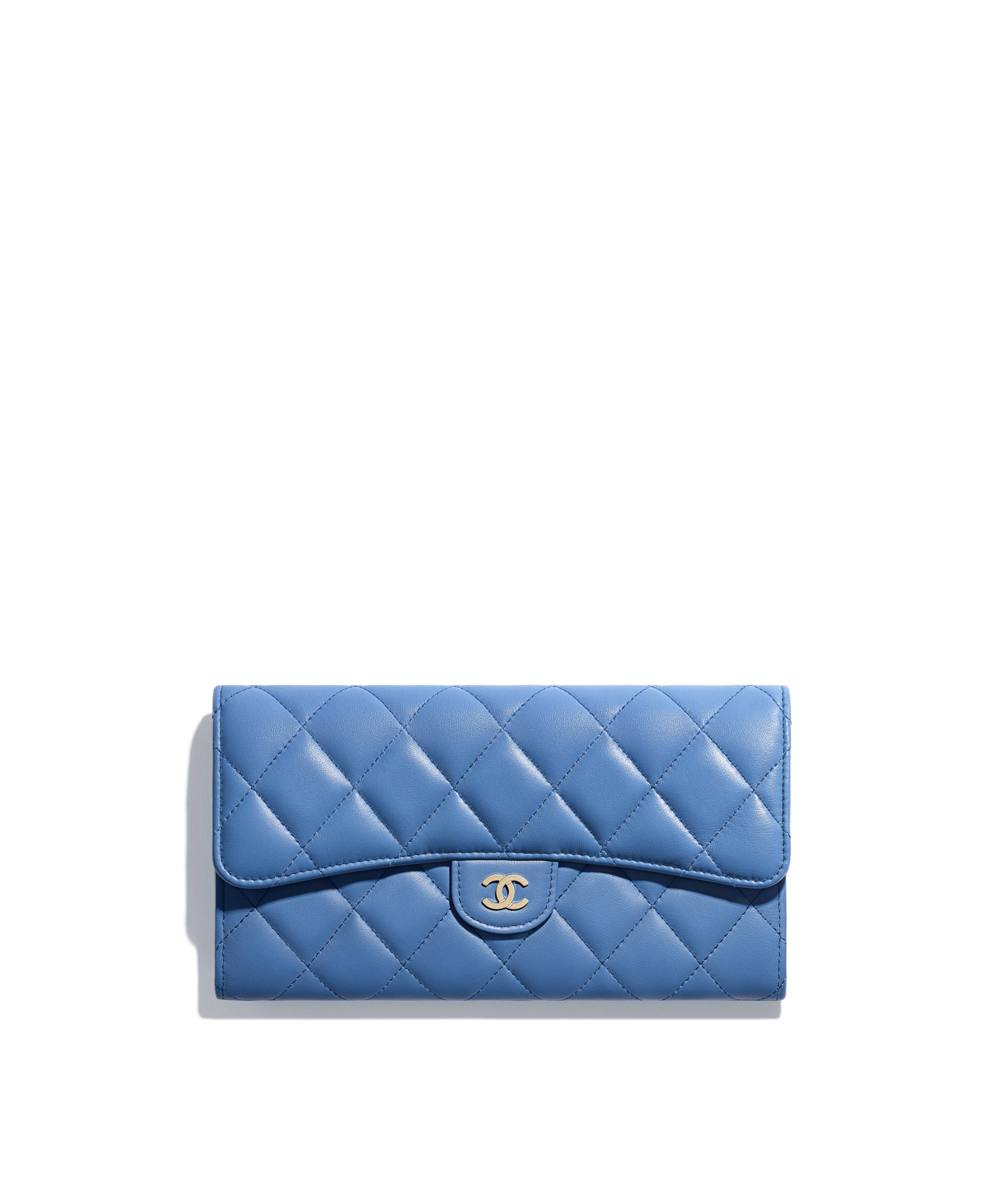 0a0630b8a808 Classic Long Flap Wallet Lambskin & Gold-Tone Metal, Blue Ref.  A80758Y07659N0902