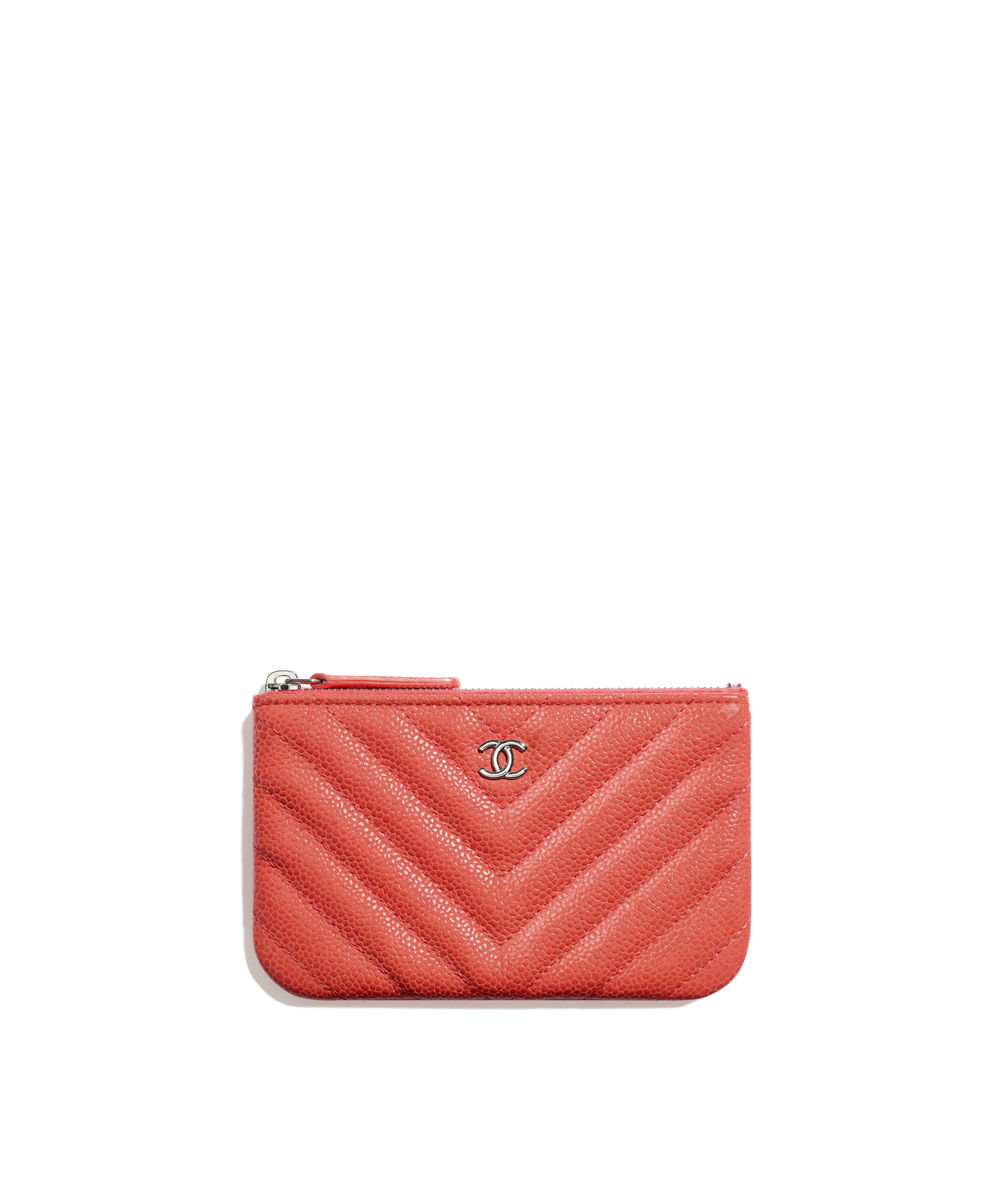b657bfe7600d Classic Small Pouch Grained Calfskin & Silver-Tone Metal, Coral Ref.  A82365Y840635B650