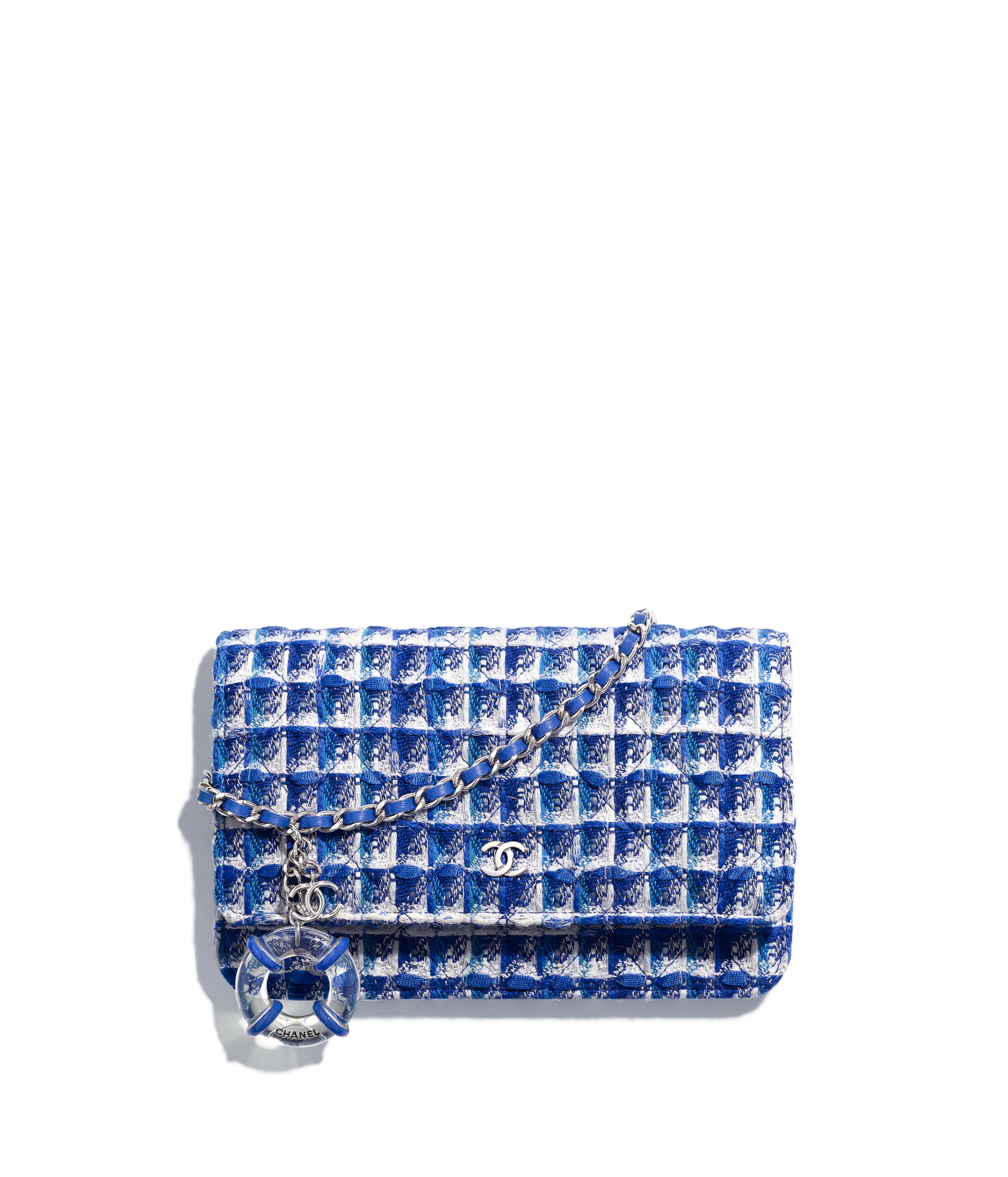 Classic Wallet On Chain Tweed Resin Silver Tone Metal Blue White Ref A33814y33439mf566