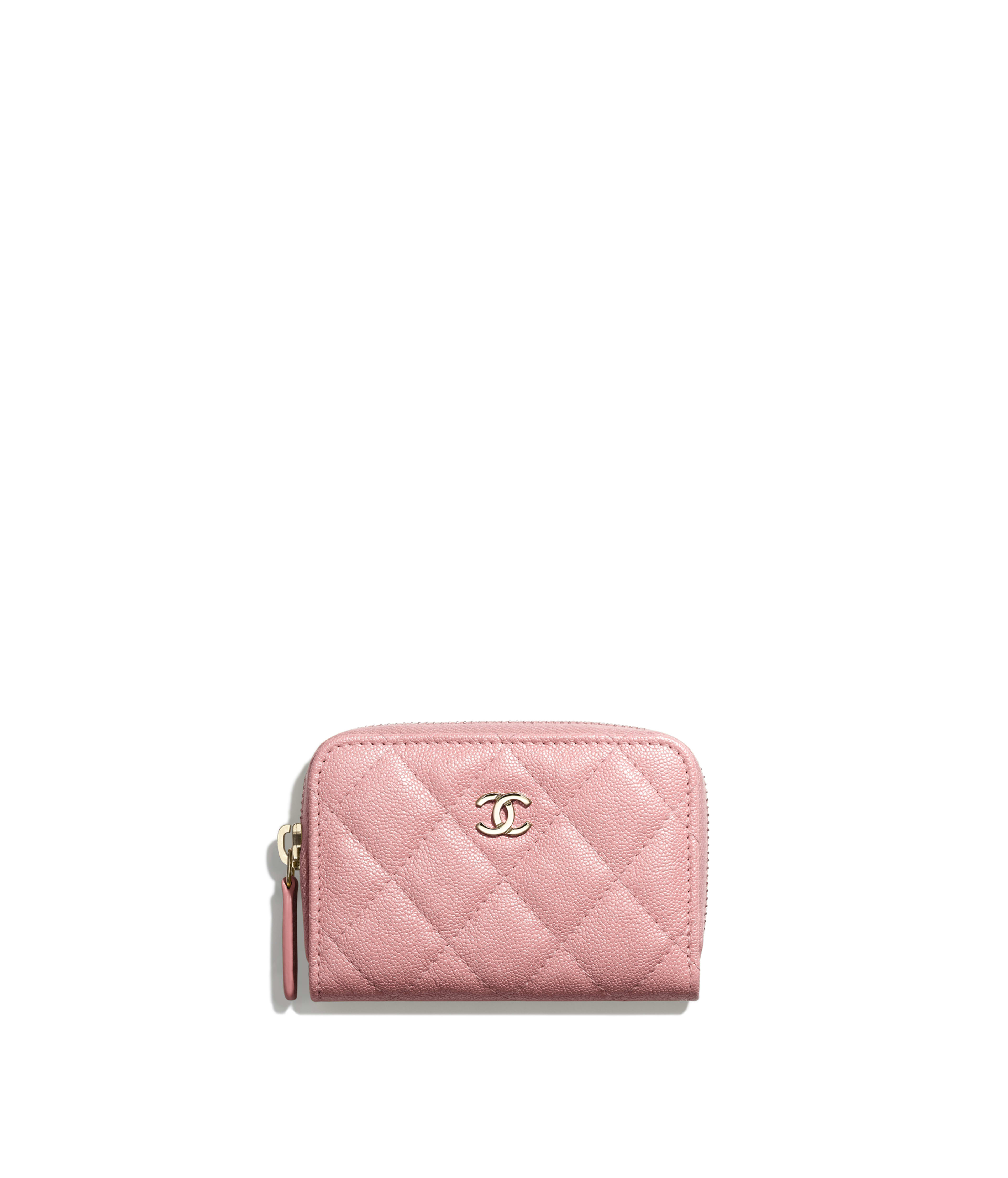 fce2b59bf7ef Classic Zipped Card Holder Iridescent Grained Calfskin & Gold-Tone Metal,  Pink Ref. A84511B00357N0897