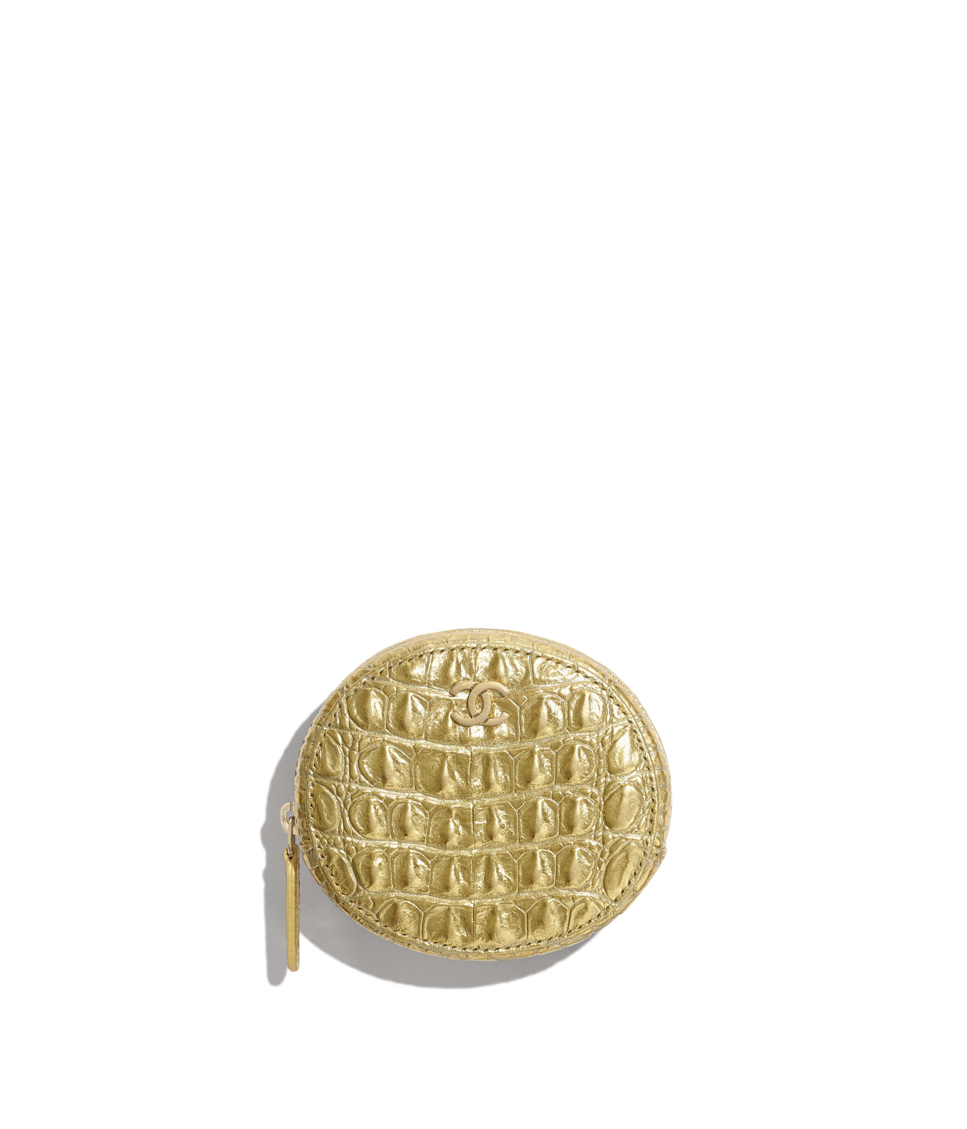 22581aeddfe6 Classic Zipped Coin Purse Metallic Crocodile Embossed Calfskin & Gold  Metal, Gold Ref. A68995B00798N4752