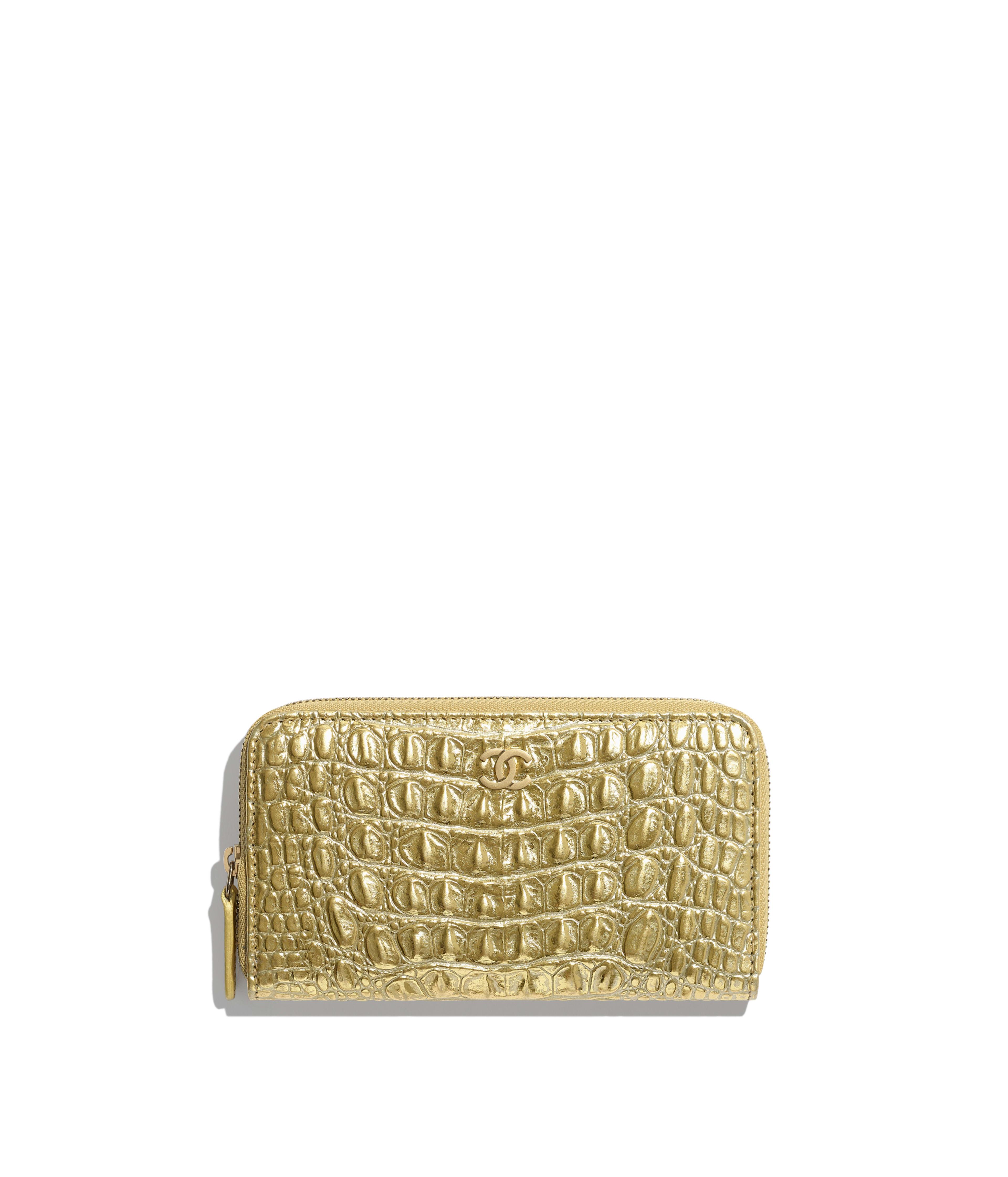 3791c920966d88 Classic Zipped Wallet Metallic Crocodile Embossed Calfskin & Gold Metal,  Gold Ref. A80481B00798N4752
