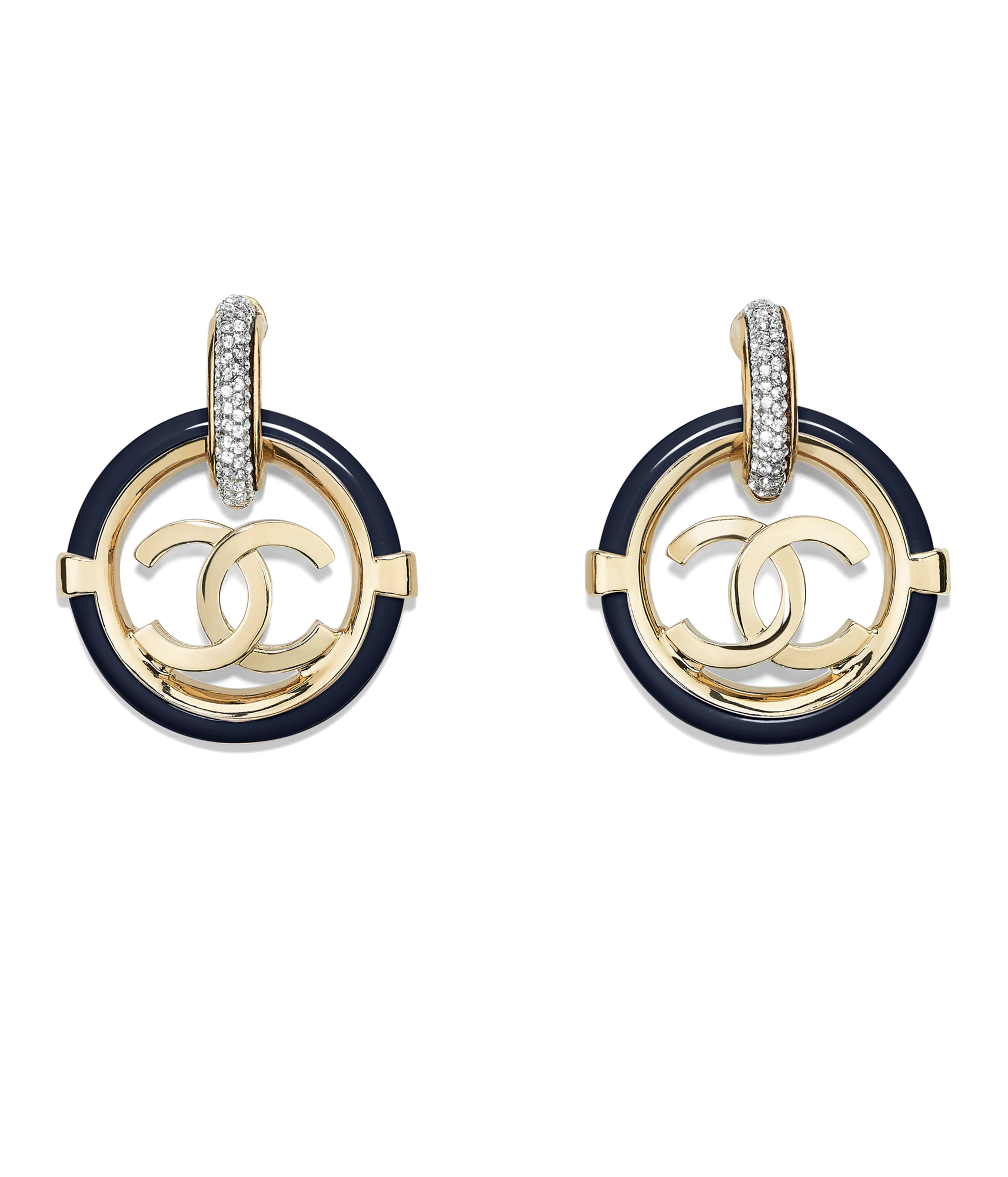 Clip On Earrings Metal Resin Str Gold Crystal Navy Blue Ref Ab1307y47633z9075