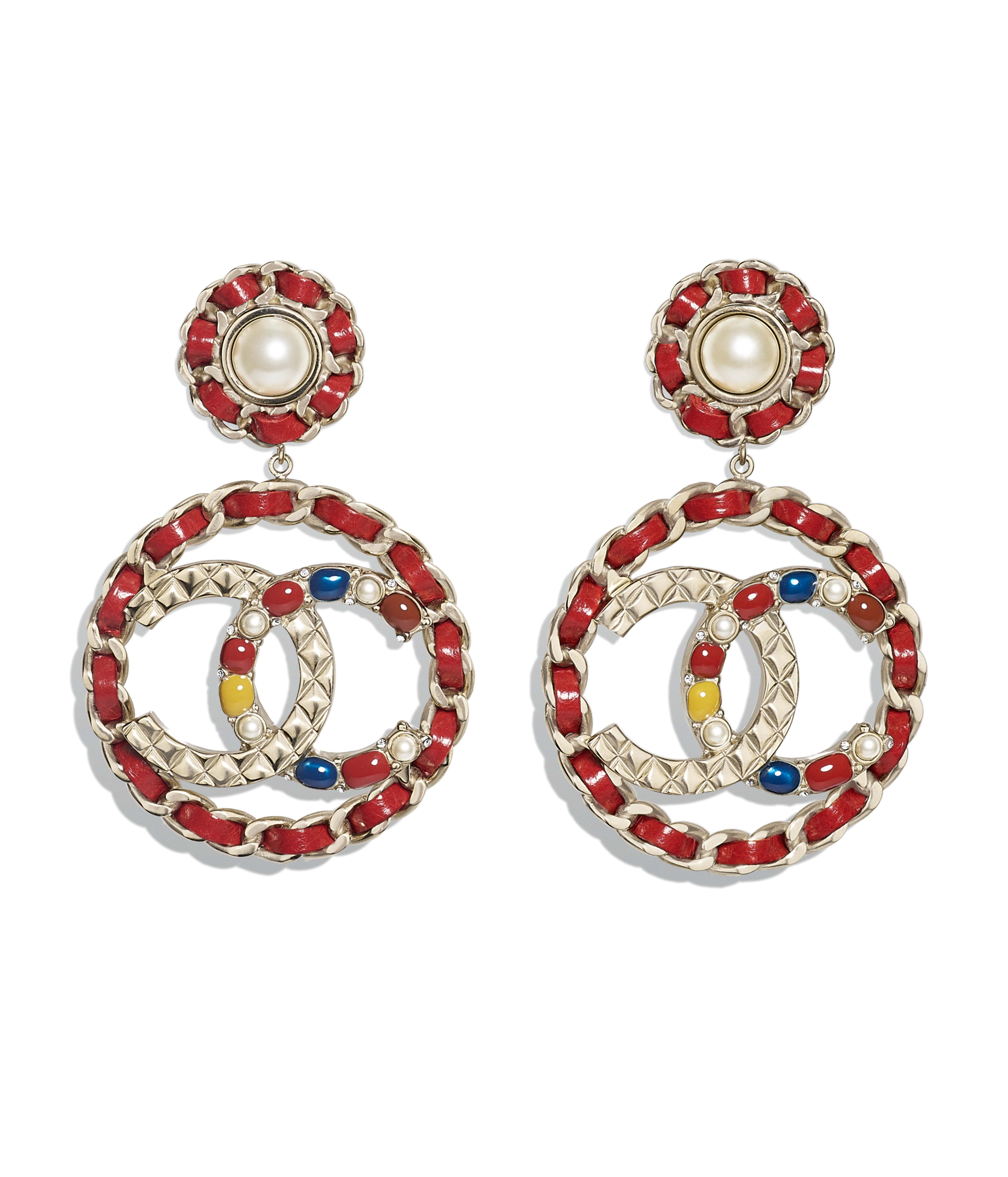 Clip On Earrings Metal Calfskin Str Resin Gold Red Pearly White Yellow Blue Ref Ab0017y47387z8814