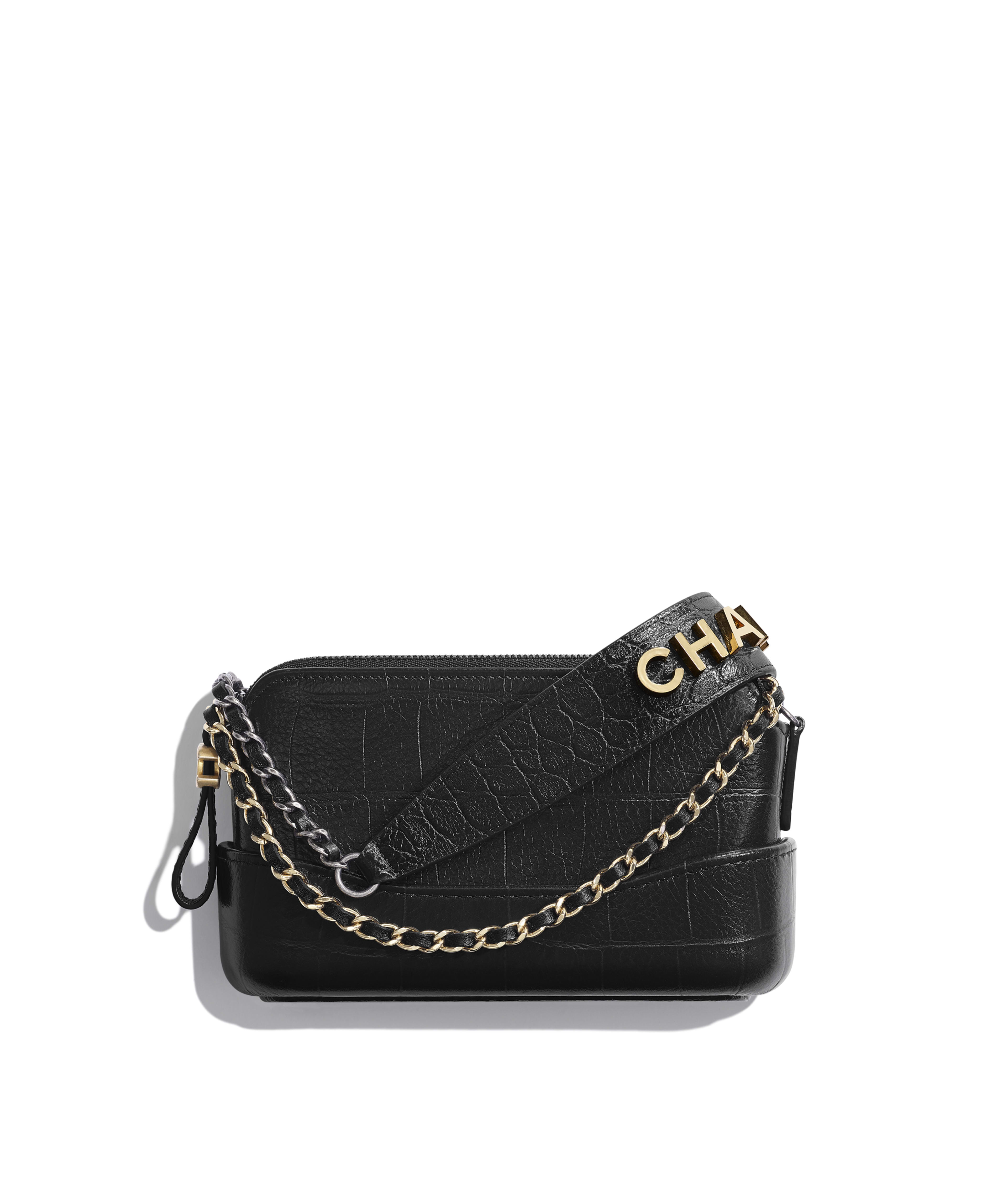 9c1ef71c9 Clutch with Chain Crocodile Embossed Calfskin, Gold-Tone & Silver-Tone  Metal, Black Ref. A94505B0081594305