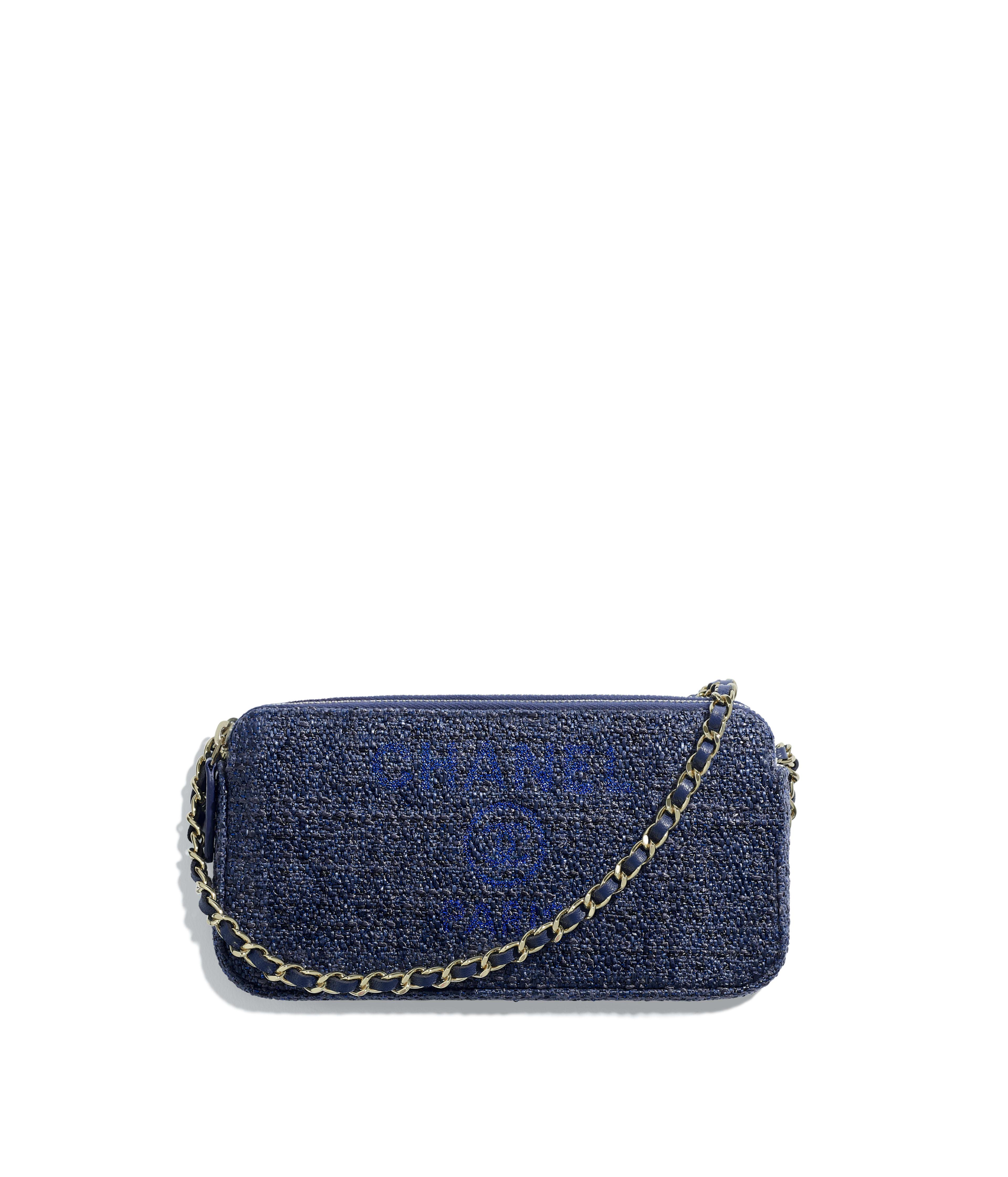 Clutch With Chain Canvas Gold Tone Metal Blue Ref A81978y334375b746