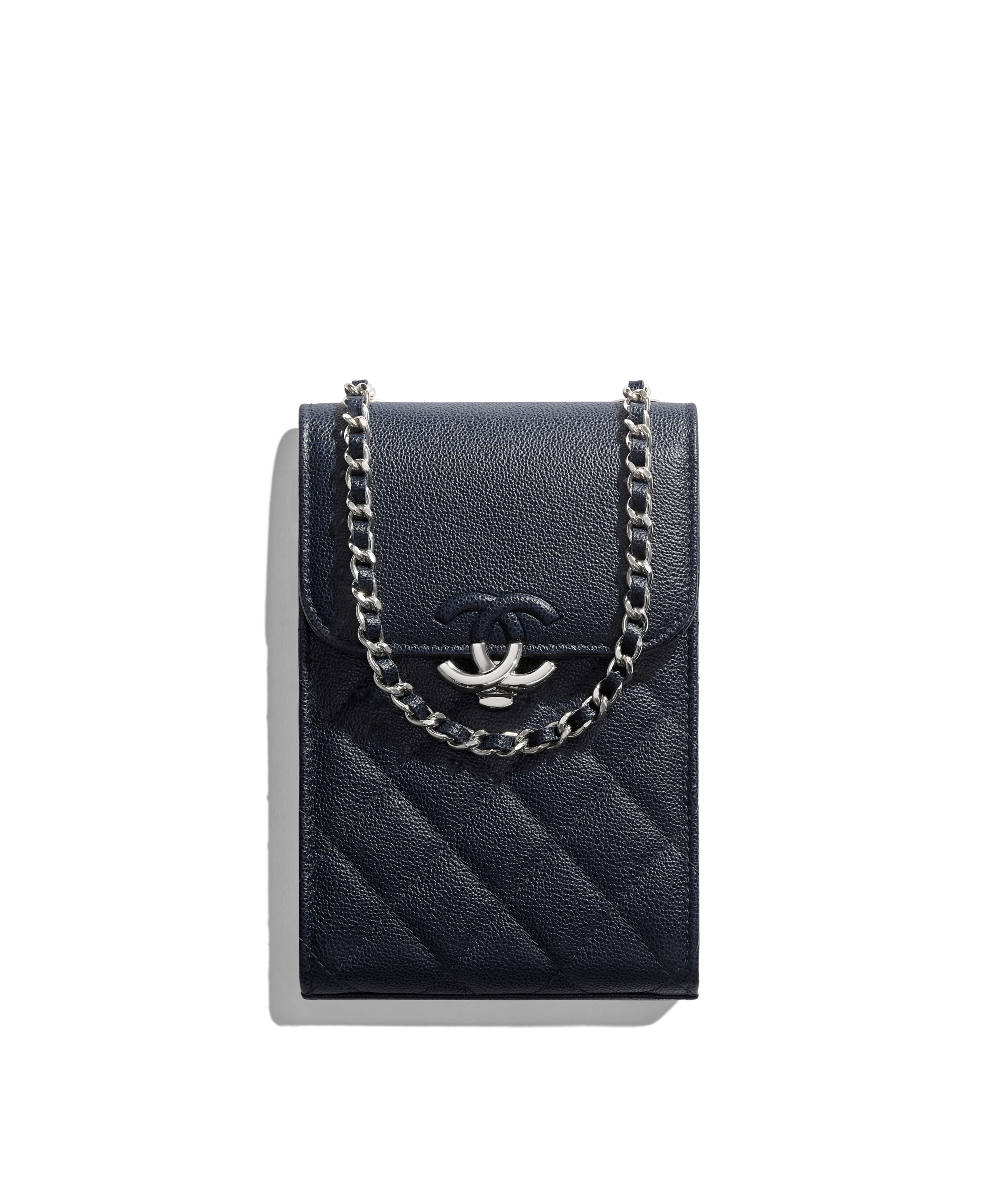 623570dcbfd7 Clutch with Chain Grained Calfskin & Silver-Tone Metal, Navy Blue Ref.  AP0009B00035N0417