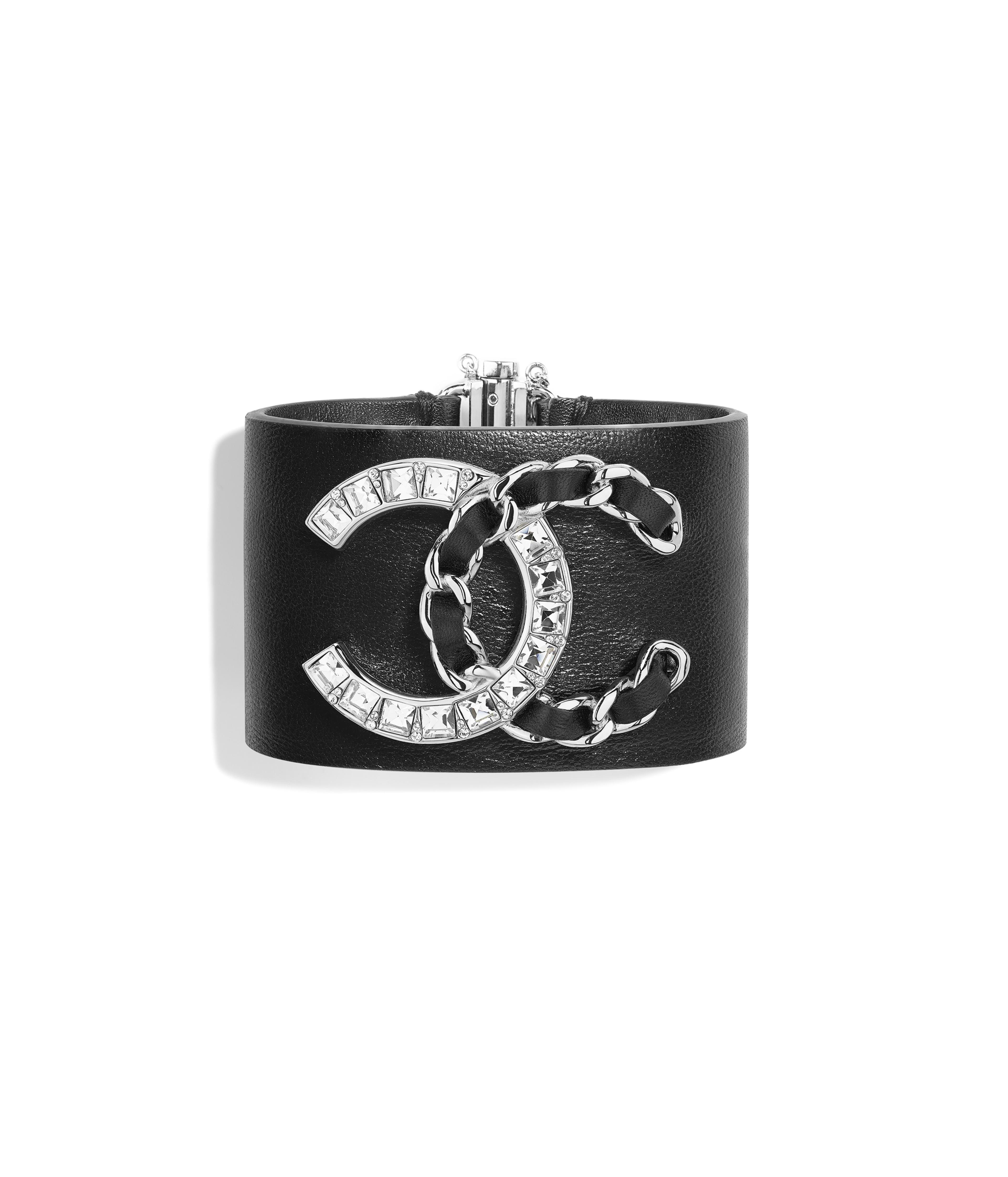 Cuff Lambskin Calfskin Str Metal Silver Black Crystal Ref Ab0005y47393z8825