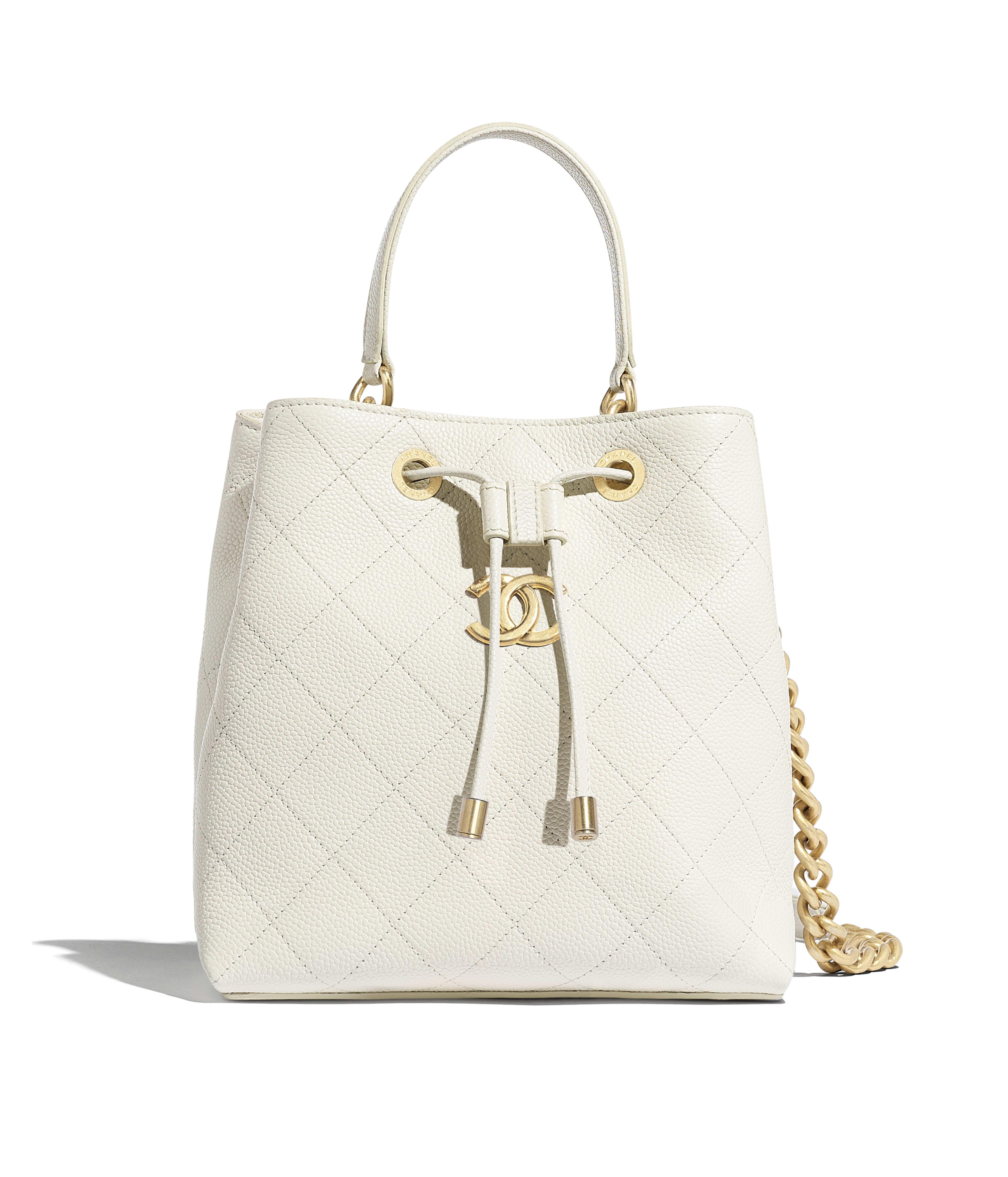 6782a87203be Drawstring Bag Grained Calfskin & Gold-Tone Metal, White Ref.  AS0310B0017010601