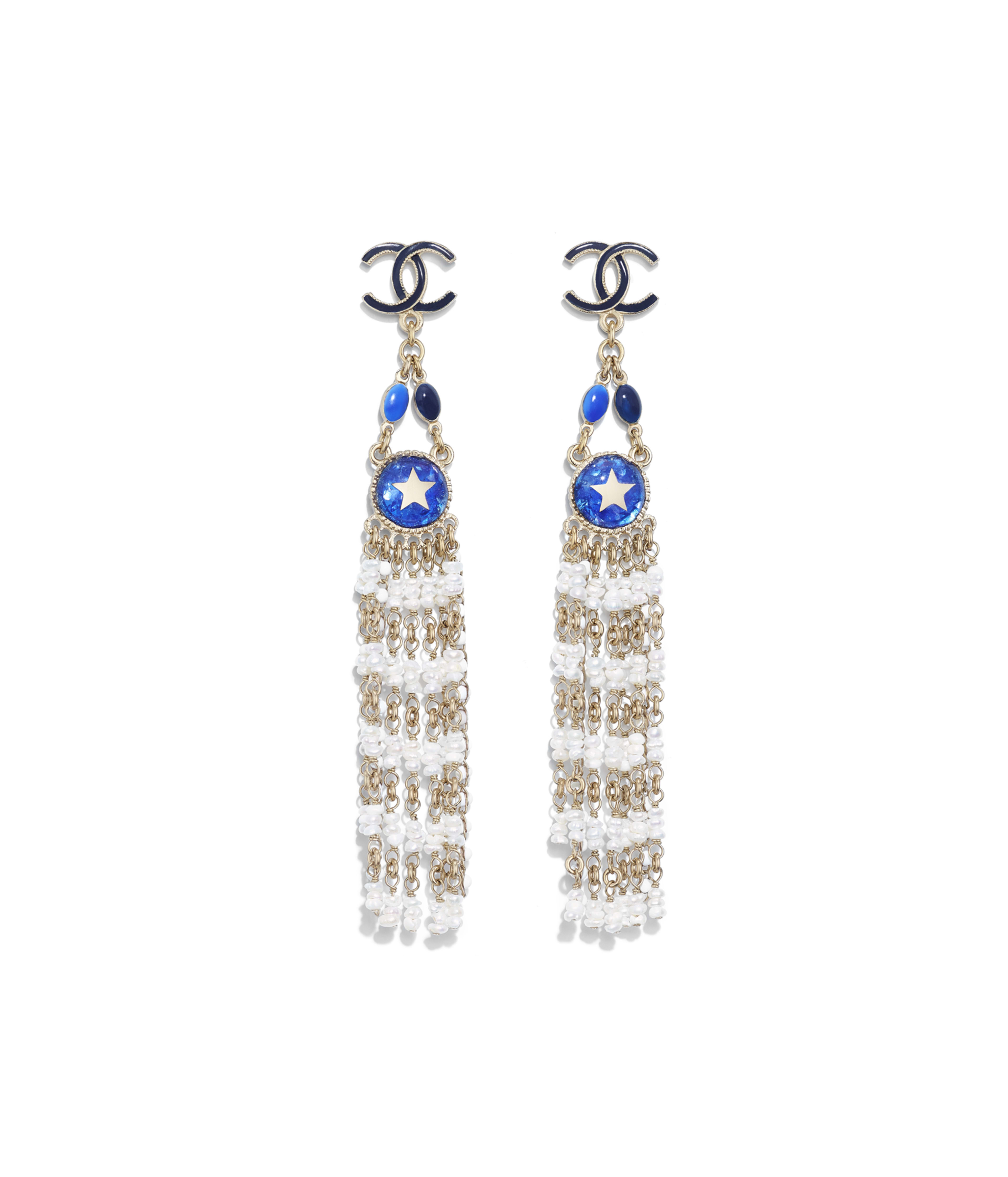 Earrings Metal Cultured Fresh Water Pearls Gl Resin Gold Blue Pearly White Ref Ab0708y47456z8888