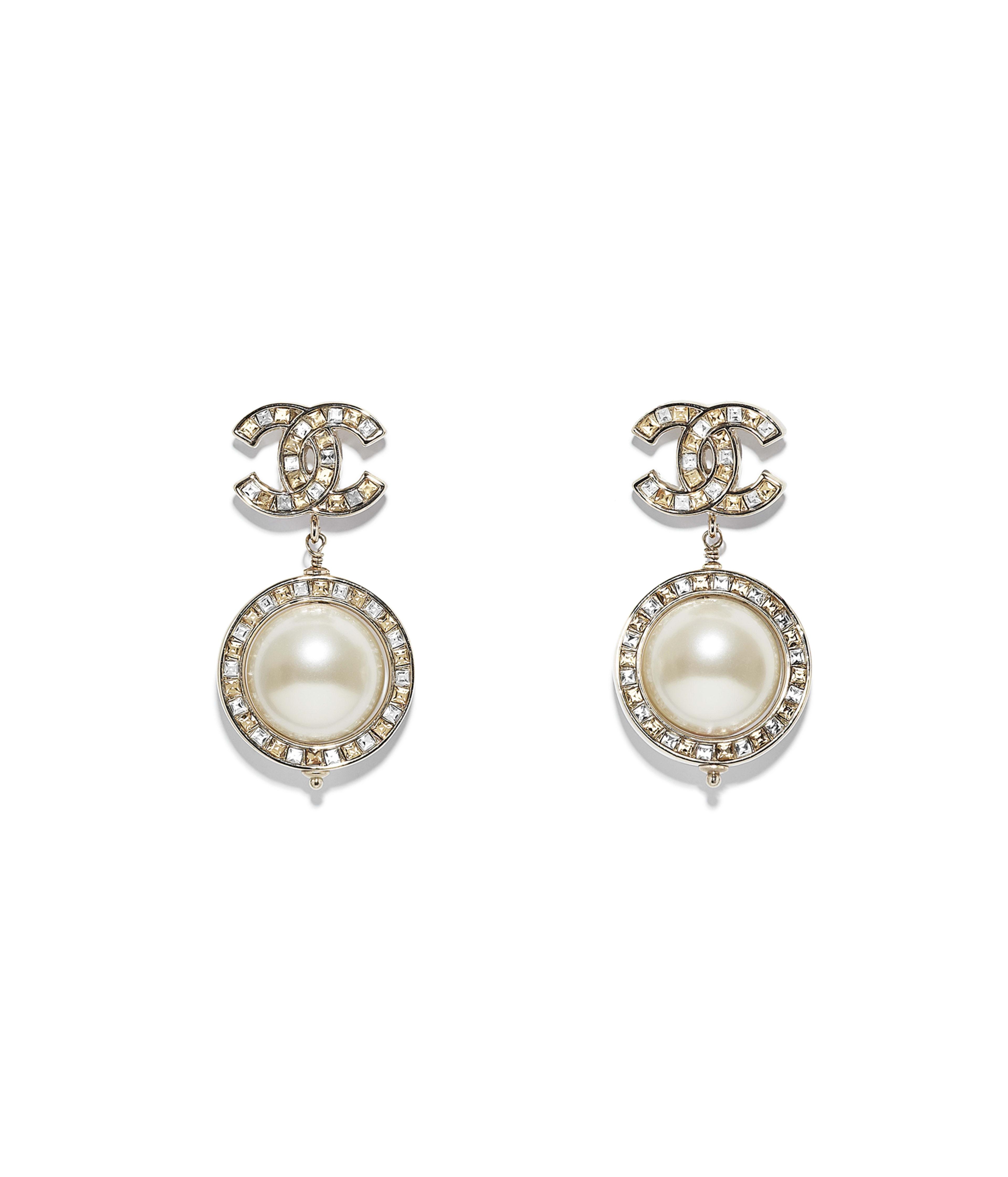 Earrings Metal Gl Pearls Str Gold Orange Crystal Pearly White Ref A53137y47287z5964