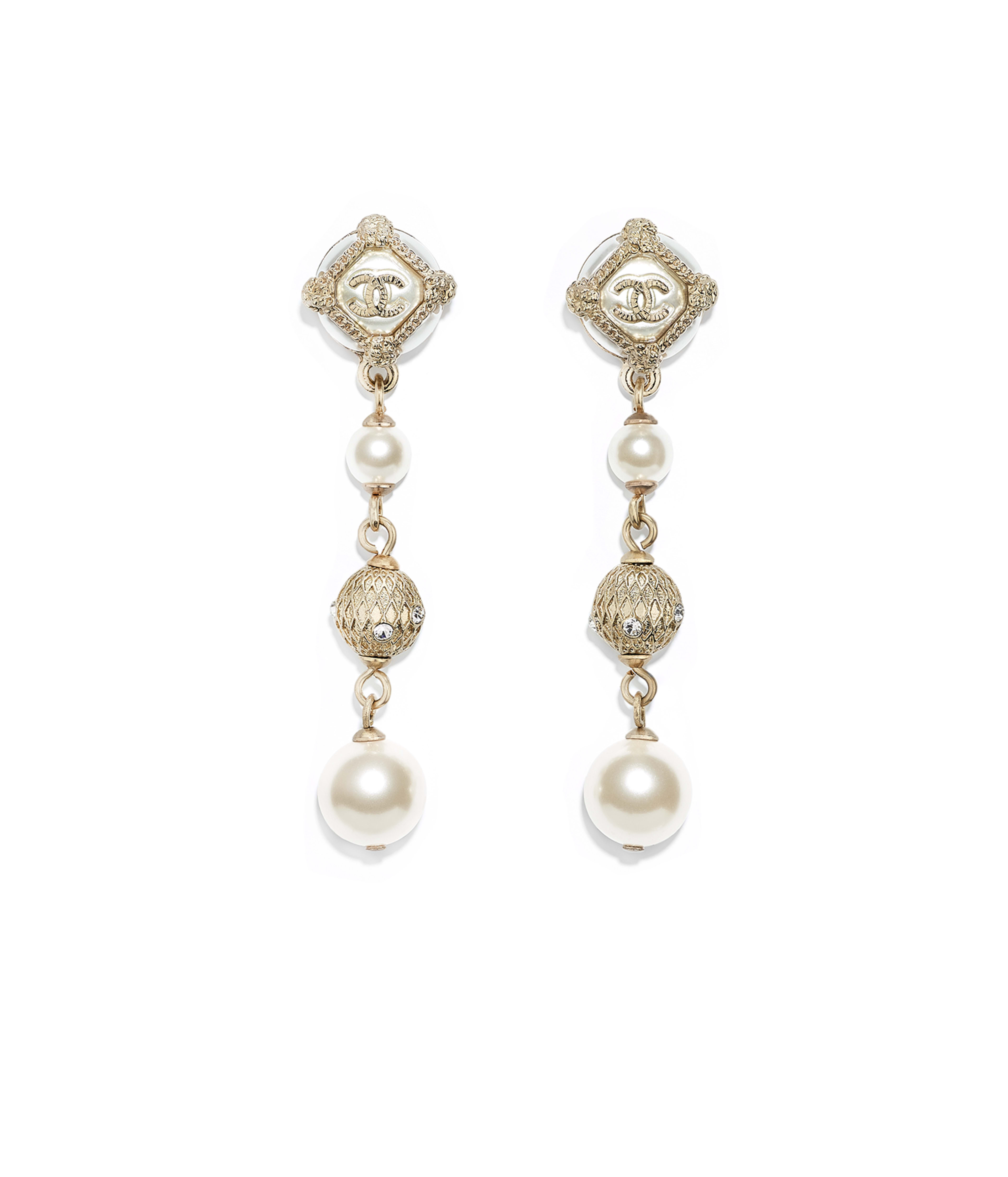 Earrings Metal Gl Pearls Str Resin Gold Pearly White Crystal Ref Ab0678y47467z8887