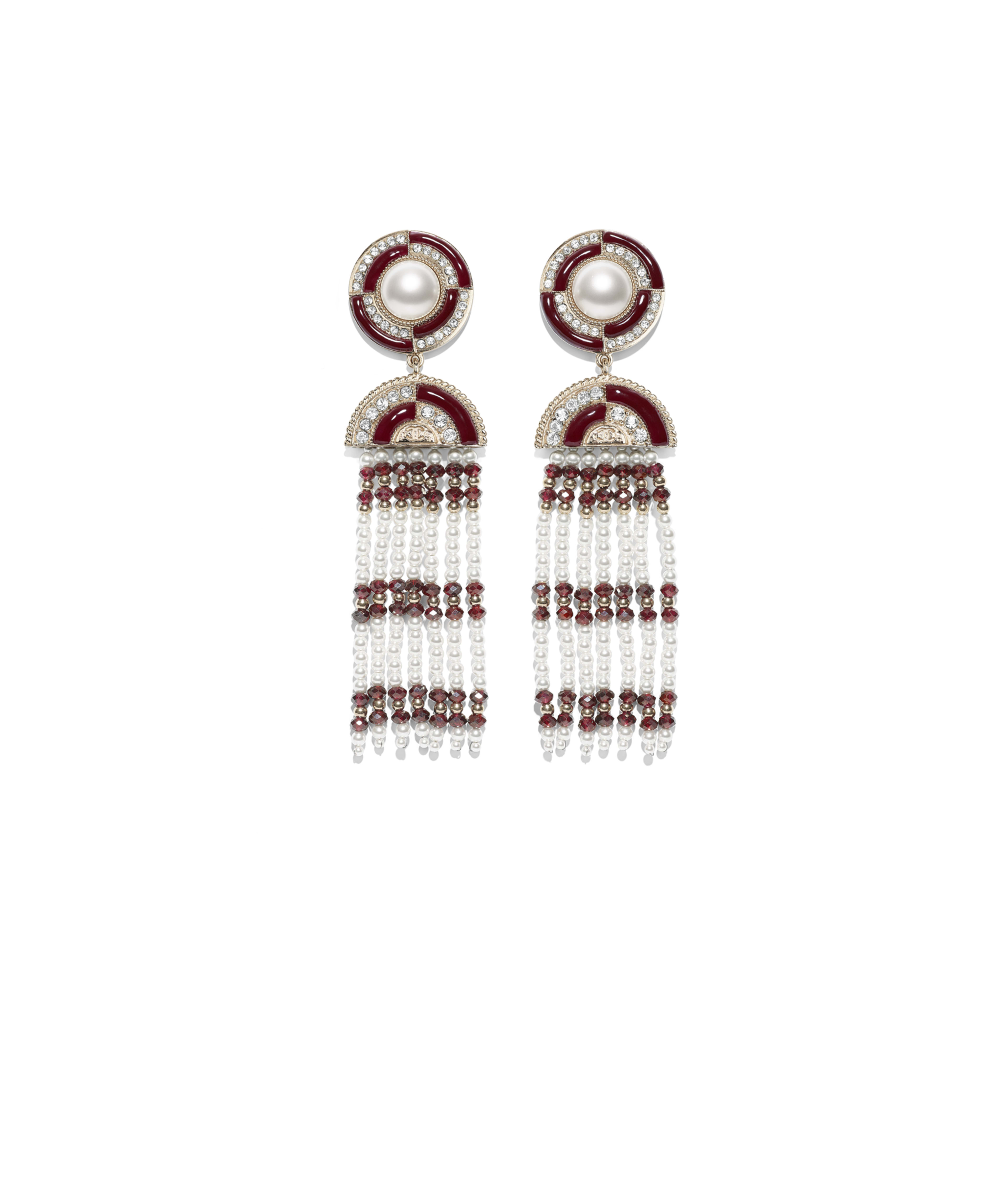 bcfee187a Earrings Metal, Natural Stones, Glass Pearls, Strass & Resin, Gold, Red,  Pearly White & Crystal Ref. AB1975Y47786Z9214