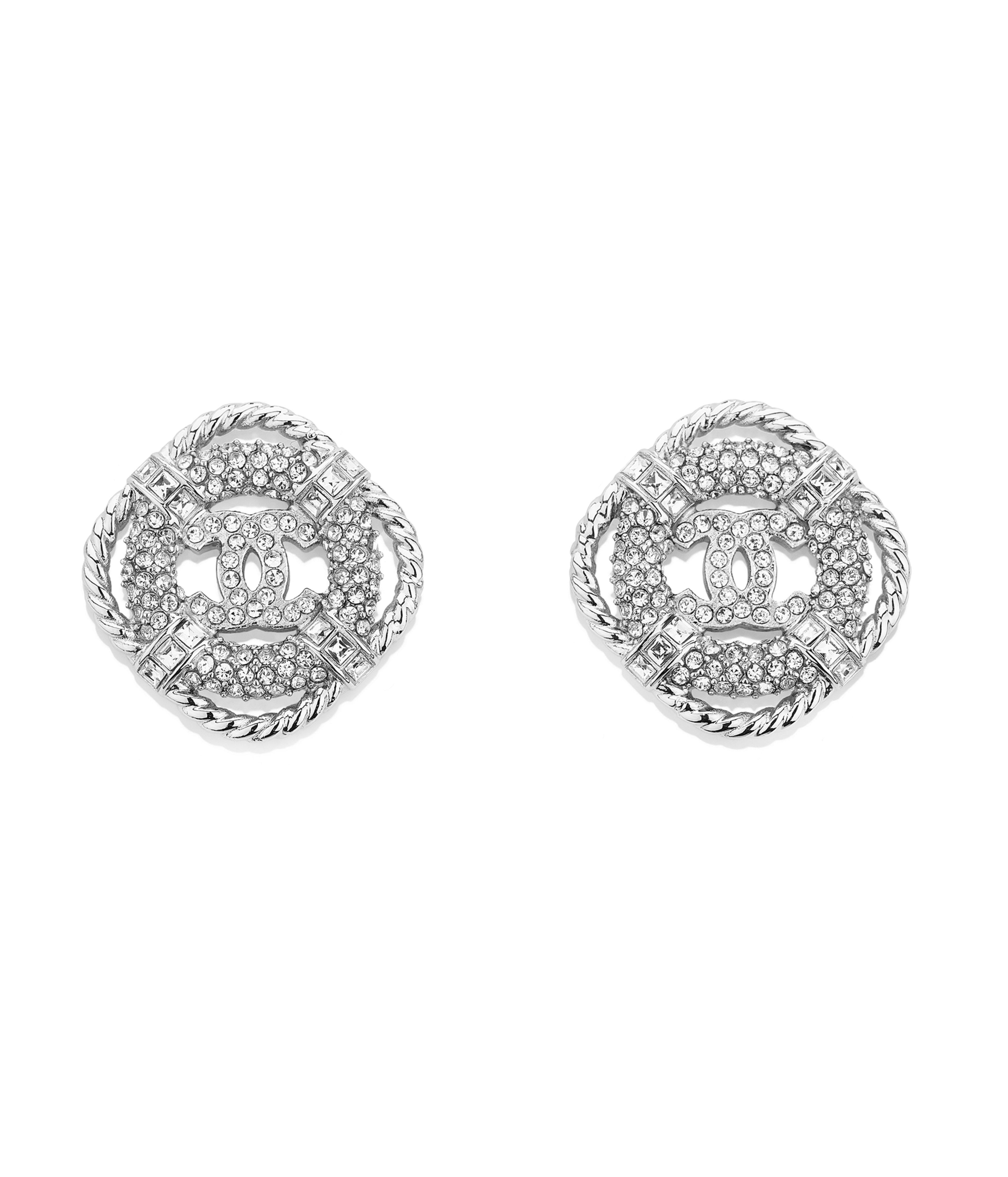 Earrings Metal Str Silver Crystal Ref Ab0516y02003z9006