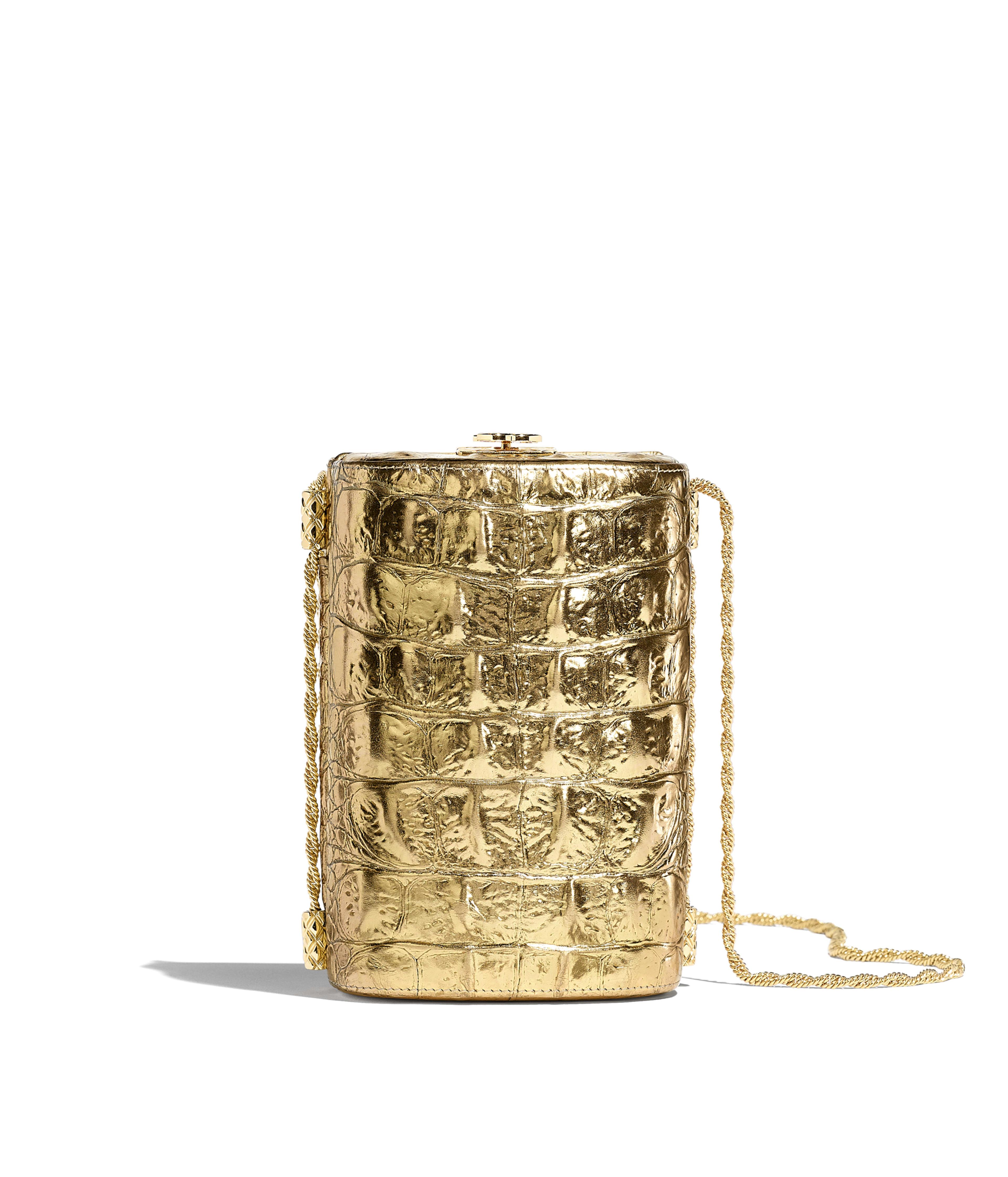 cf8399c59e Evening Bag Metallic Crocodile Embossed Calfskin & Gold Metal, Gold Ref.  AS0843B00902N4752