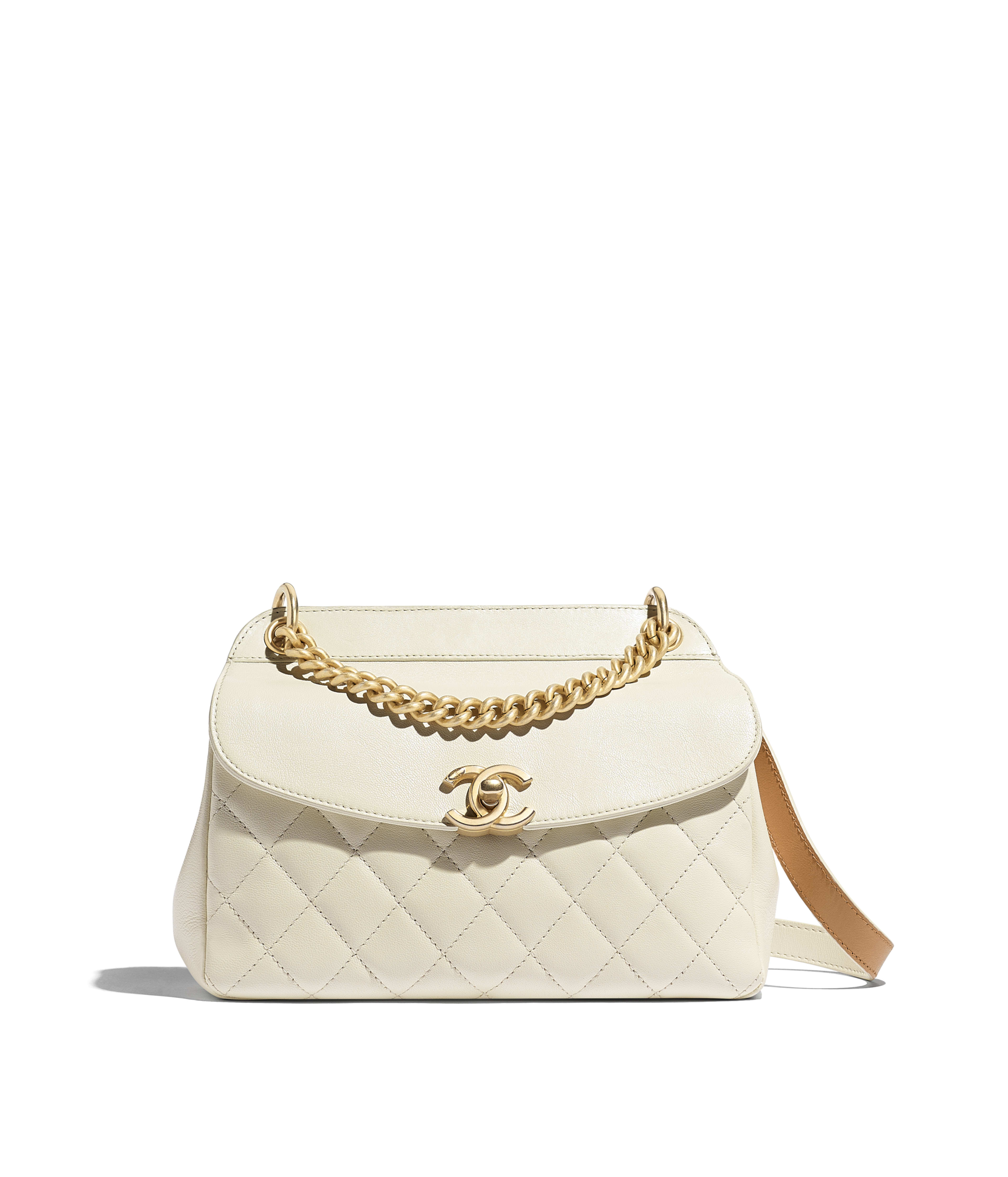 b39f575055258f Flap Bag Lambskin, Calfskin & Gold-Tone Metal, Ivory Ref. AS0416B0014210800