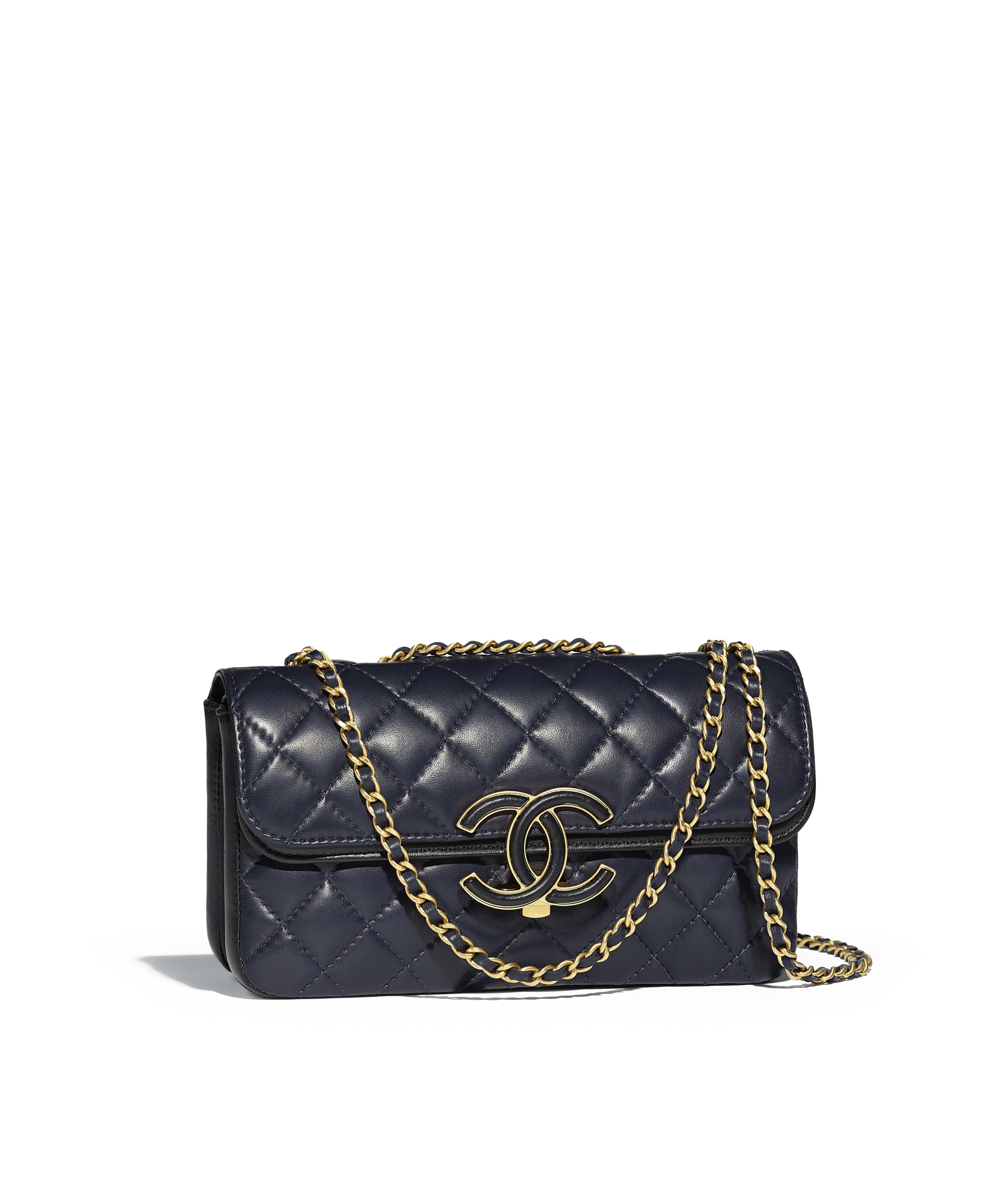 Flap Bag Lambskin Gold Tone Metal Navy Blue Black Ref A57275y83664c0215