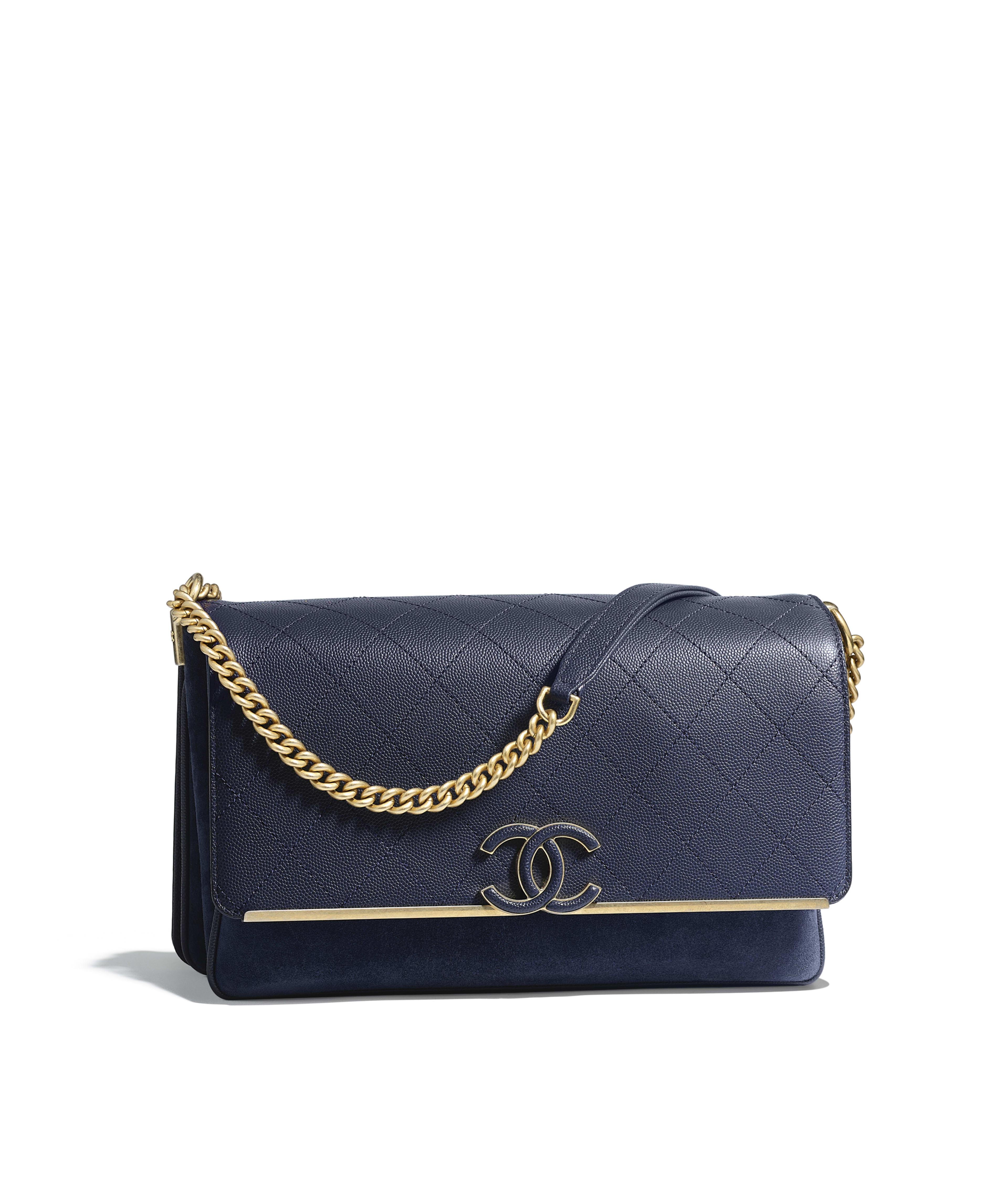 Flap Bag Grained Calfskin Suede Gold Tone Metal Navy Blue Ref A57561y333575b313